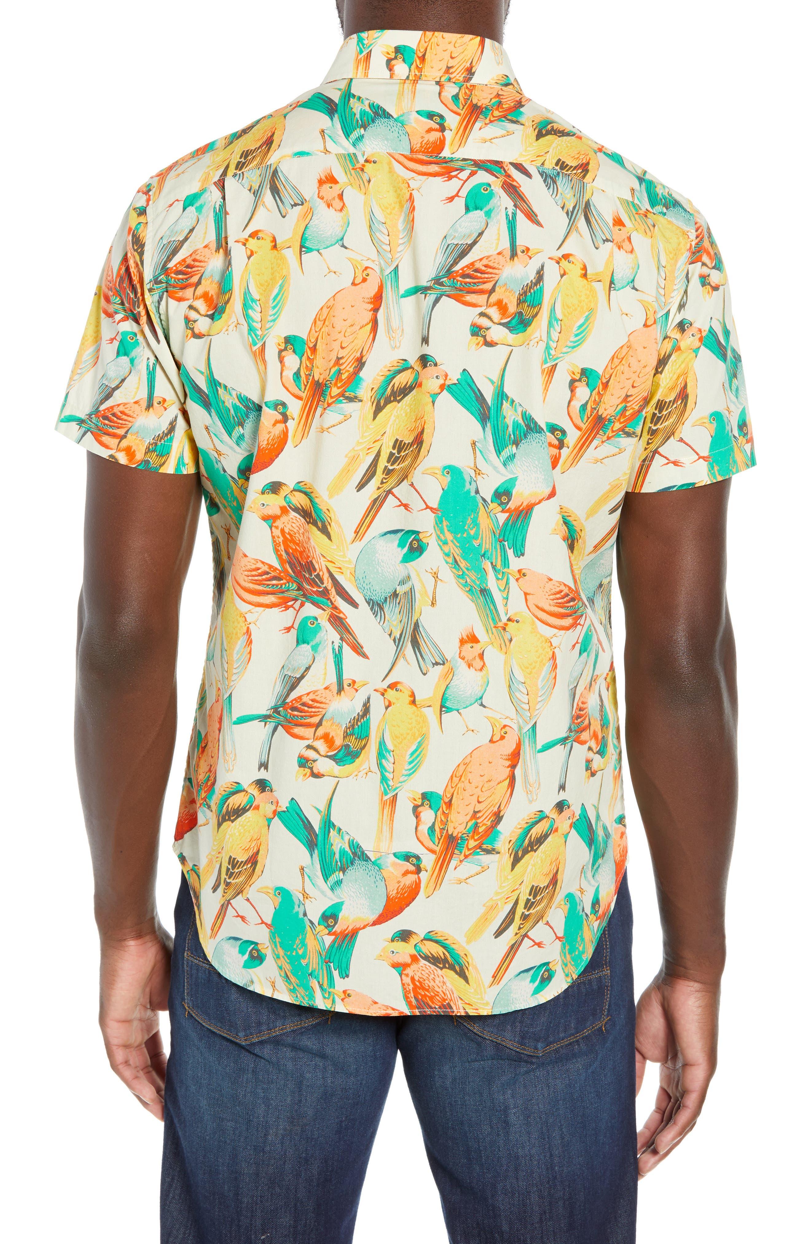 Premium Slim Fit Bird Print Sport Shirt,                             Alternate thumbnail 3, color,                             700