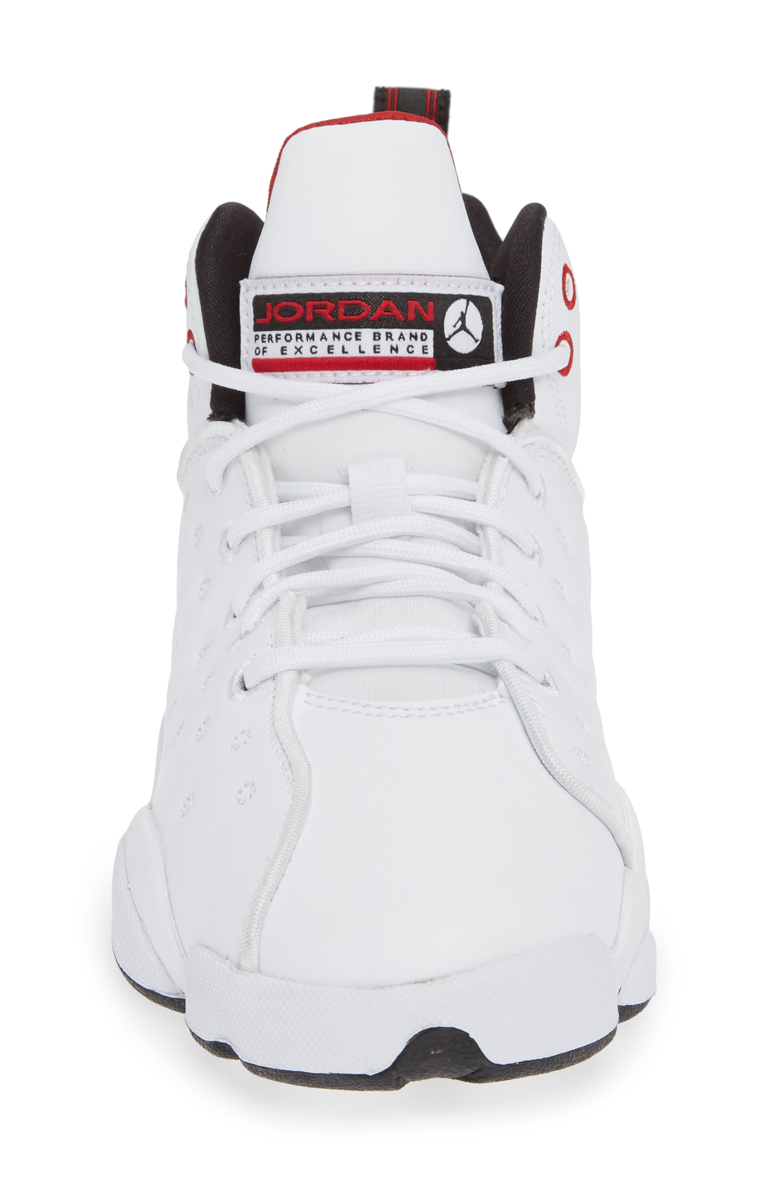 Jordan Jumpman Team II Sneaker,                             Alternate thumbnail 4, color,                             WHITE/ BLACK/ GYM RED