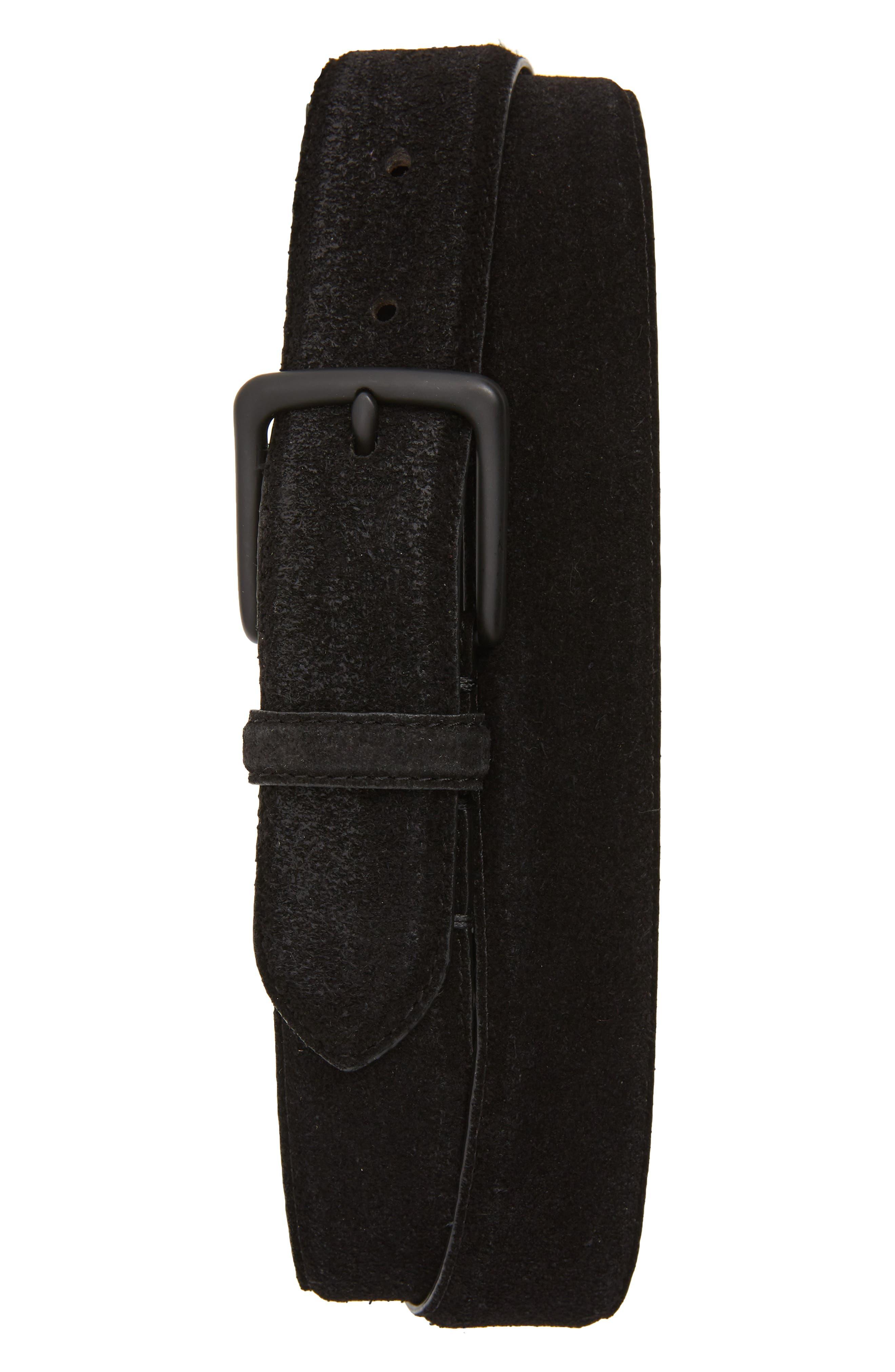 Allsaints Distressed Suede Leather Belt, Black/ Matte Black