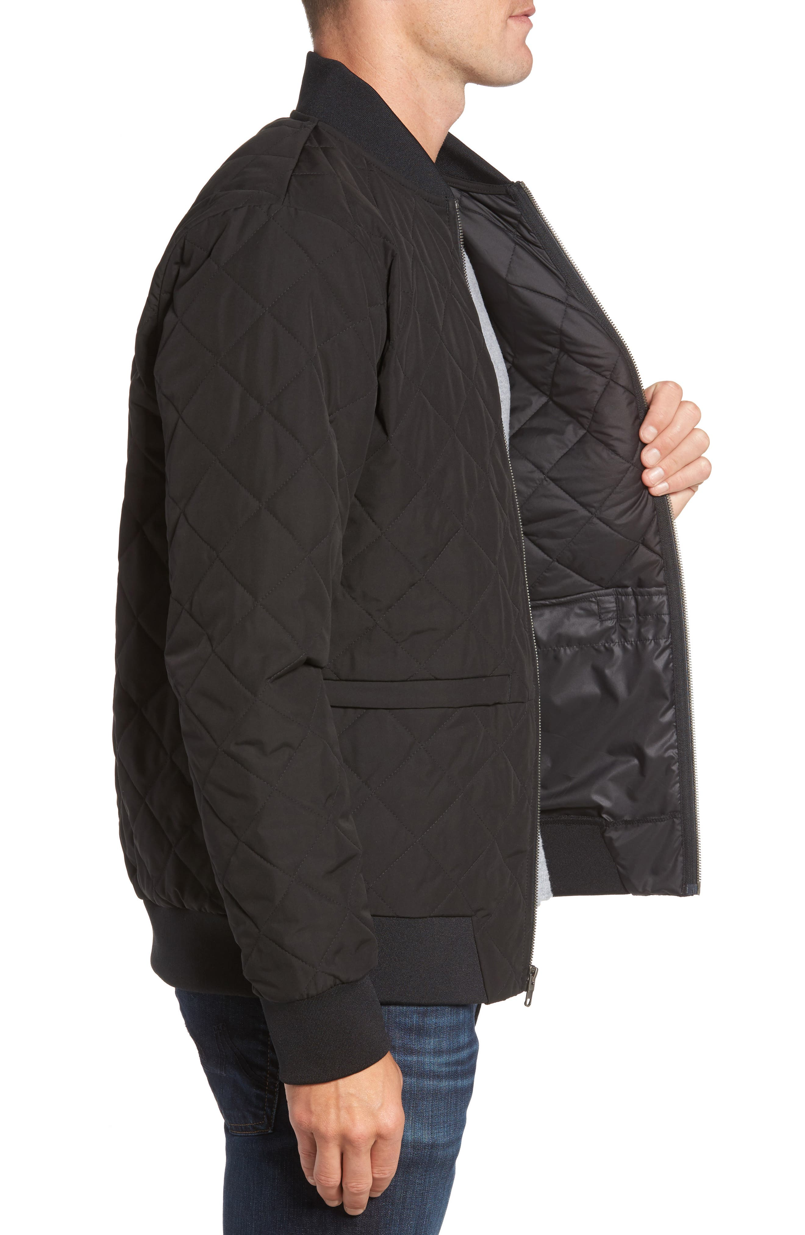 Distributor Quilted Bomber Jacket,                             Alternate thumbnail 3, color,                             001