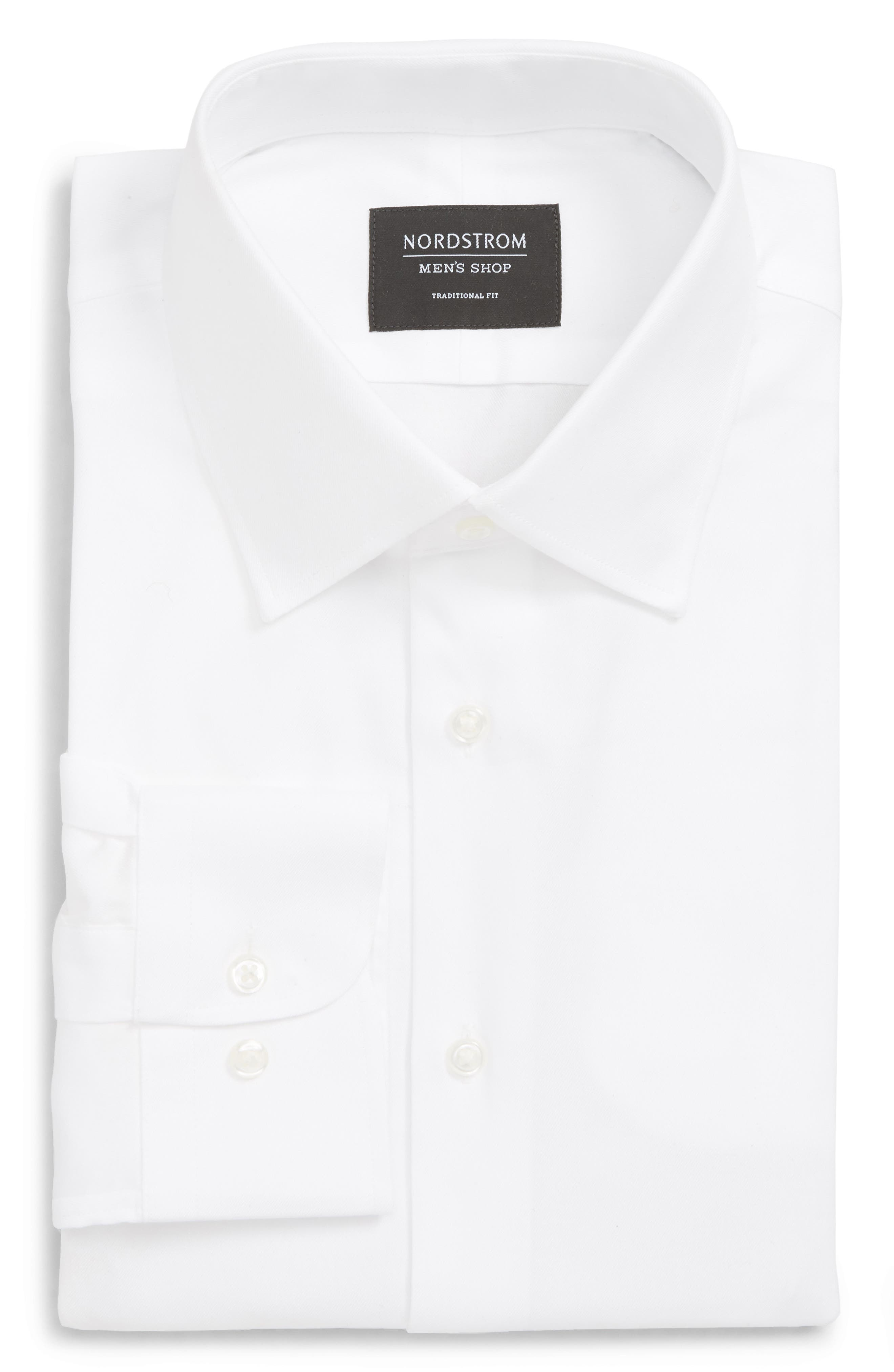 NORDSTROM MEN'S SHOP Traditional Fit Solid Dress Shirt, Main, color, WHITE