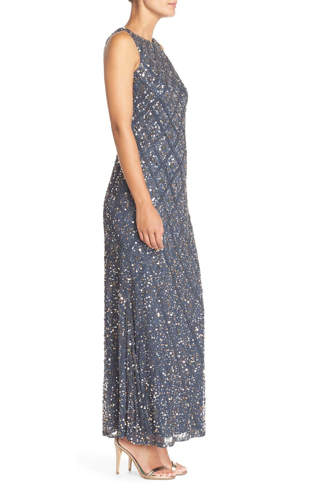 Embellished Mesh Gown,                             Alternate thumbnail 5, color,
