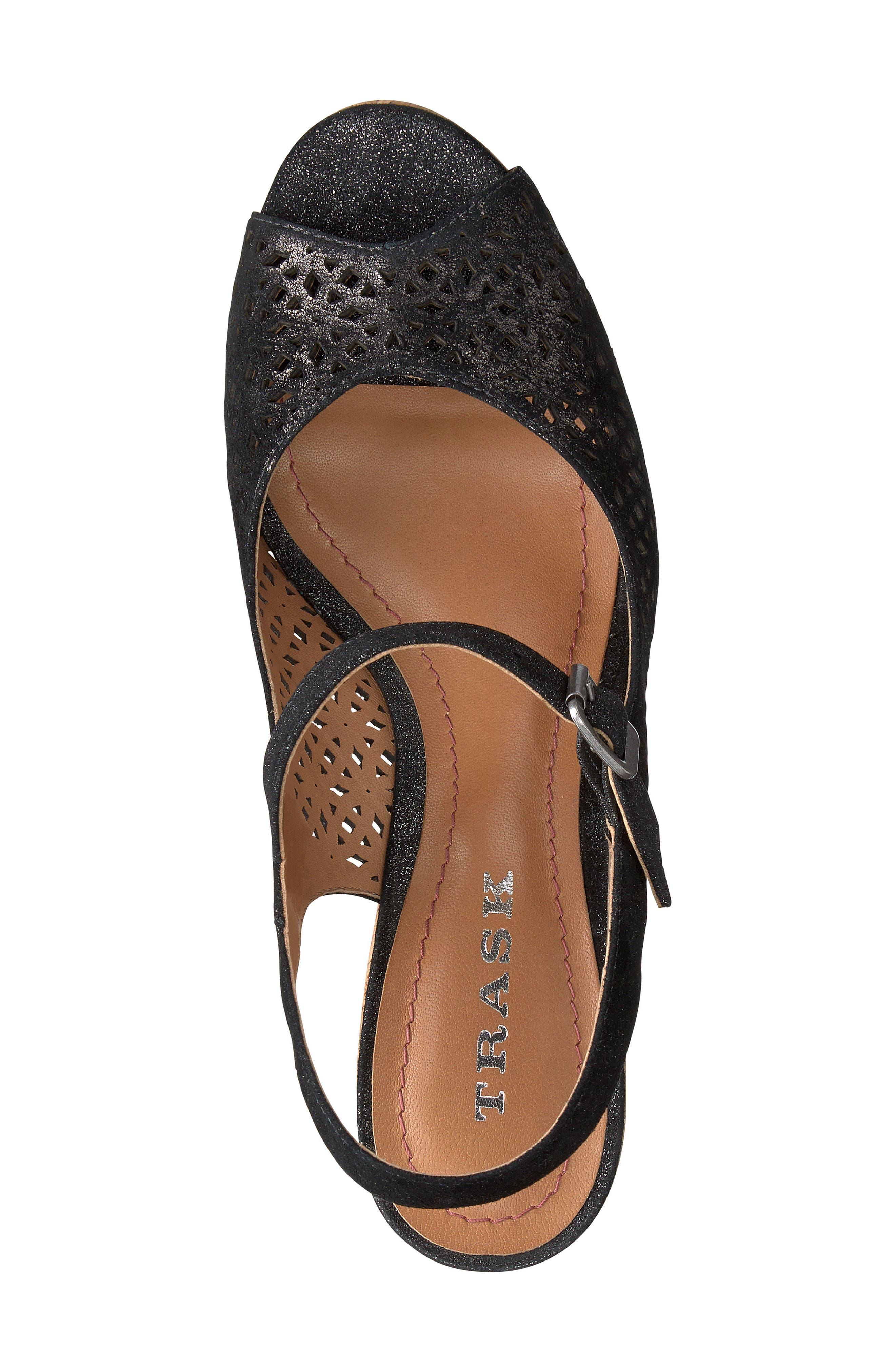 Pattie Wedge Sandal,                             Alternate thumbnail 5, color,                             BLACK METALLIC SUEDE