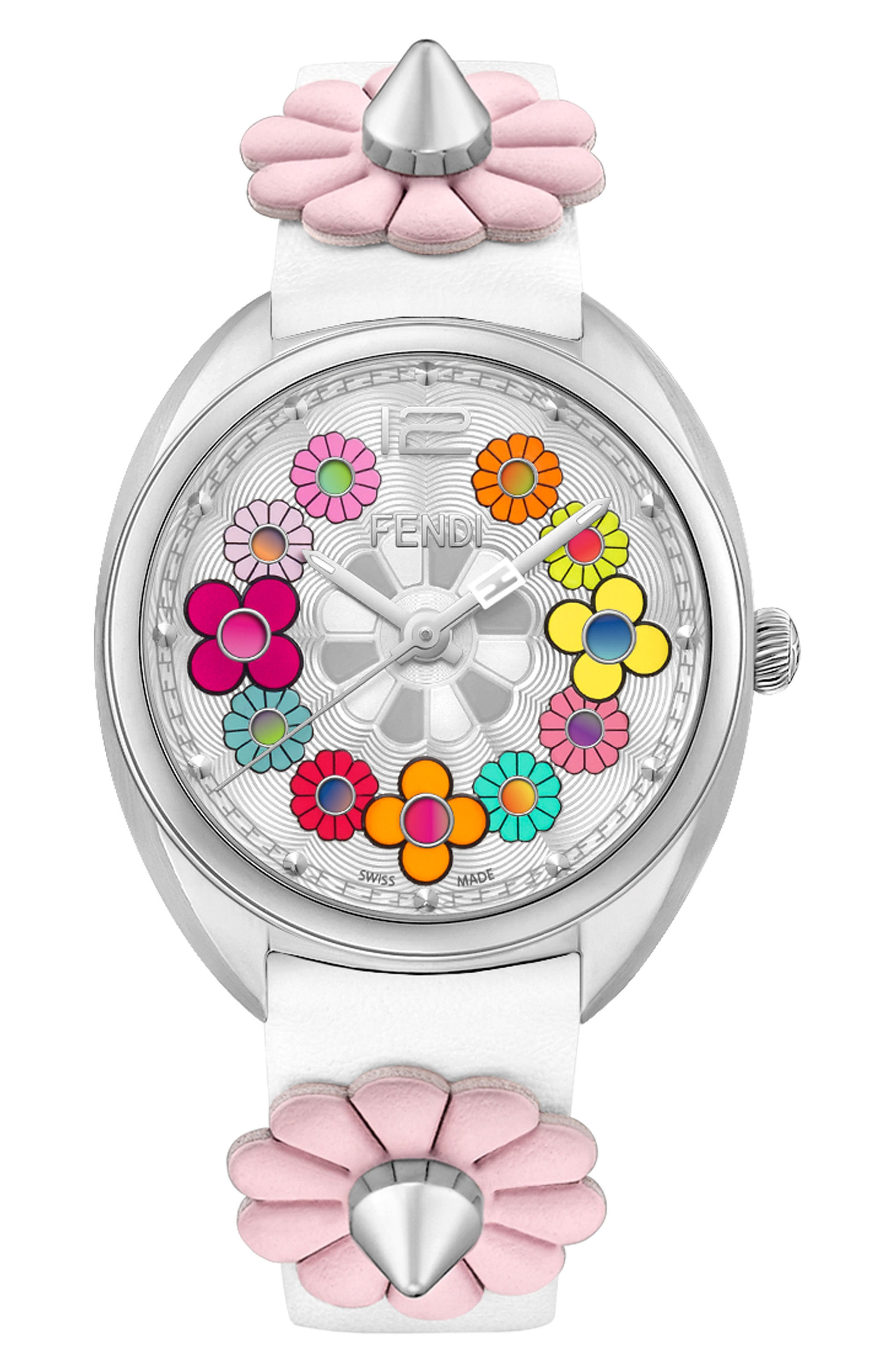 Momento Floral Leather Strap Watch, 34mm, Main, color, WHITE/ PINK/ SILVER