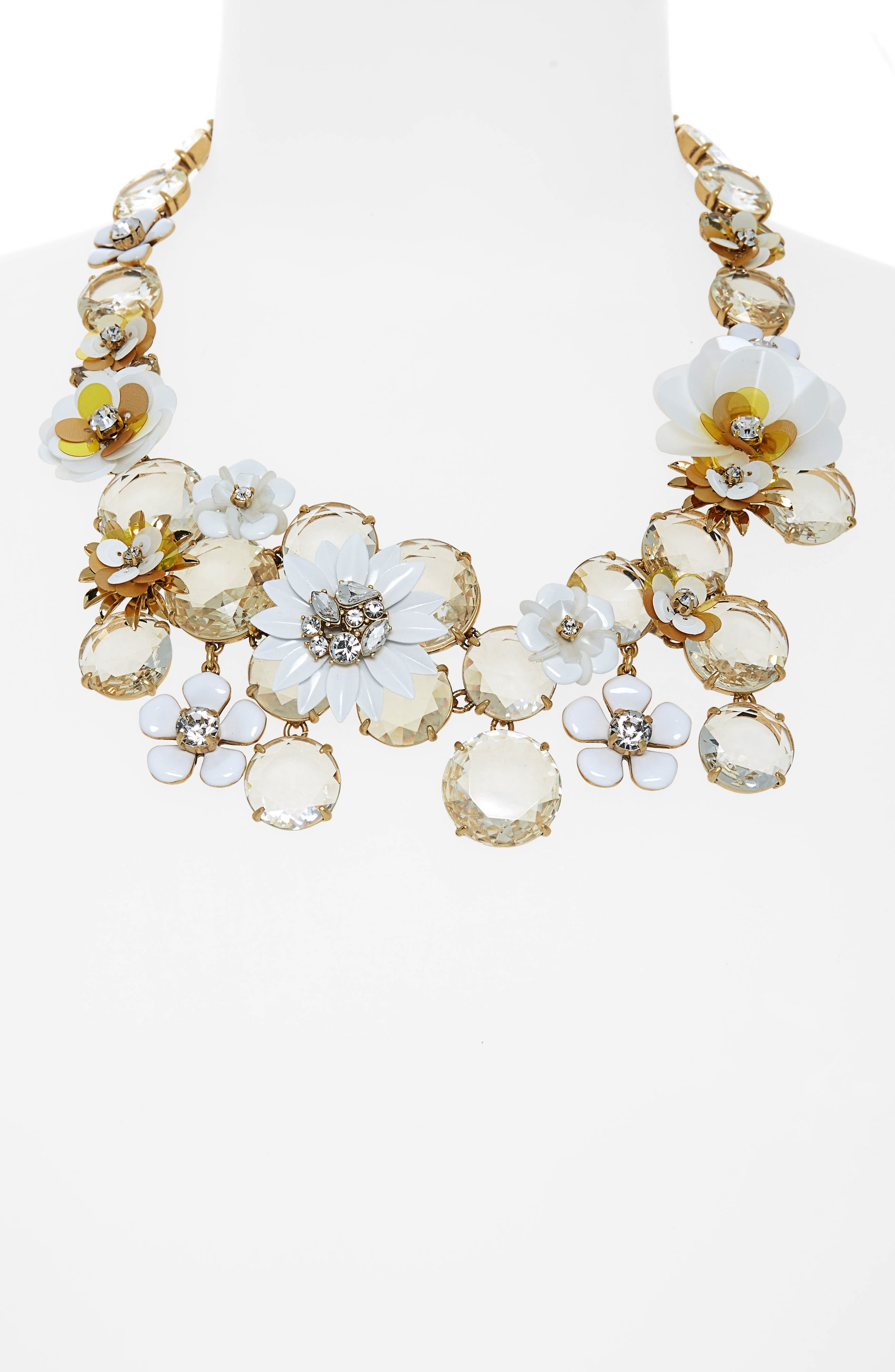 Flower Statement Necklace,                             Alternate thumbnail 2, color,                             WHITE