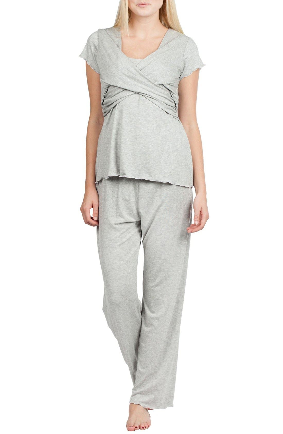 Sophia Maternity/Nursing Pajamas,                             Main thumbnail 1, color,                             HEATHER GREY