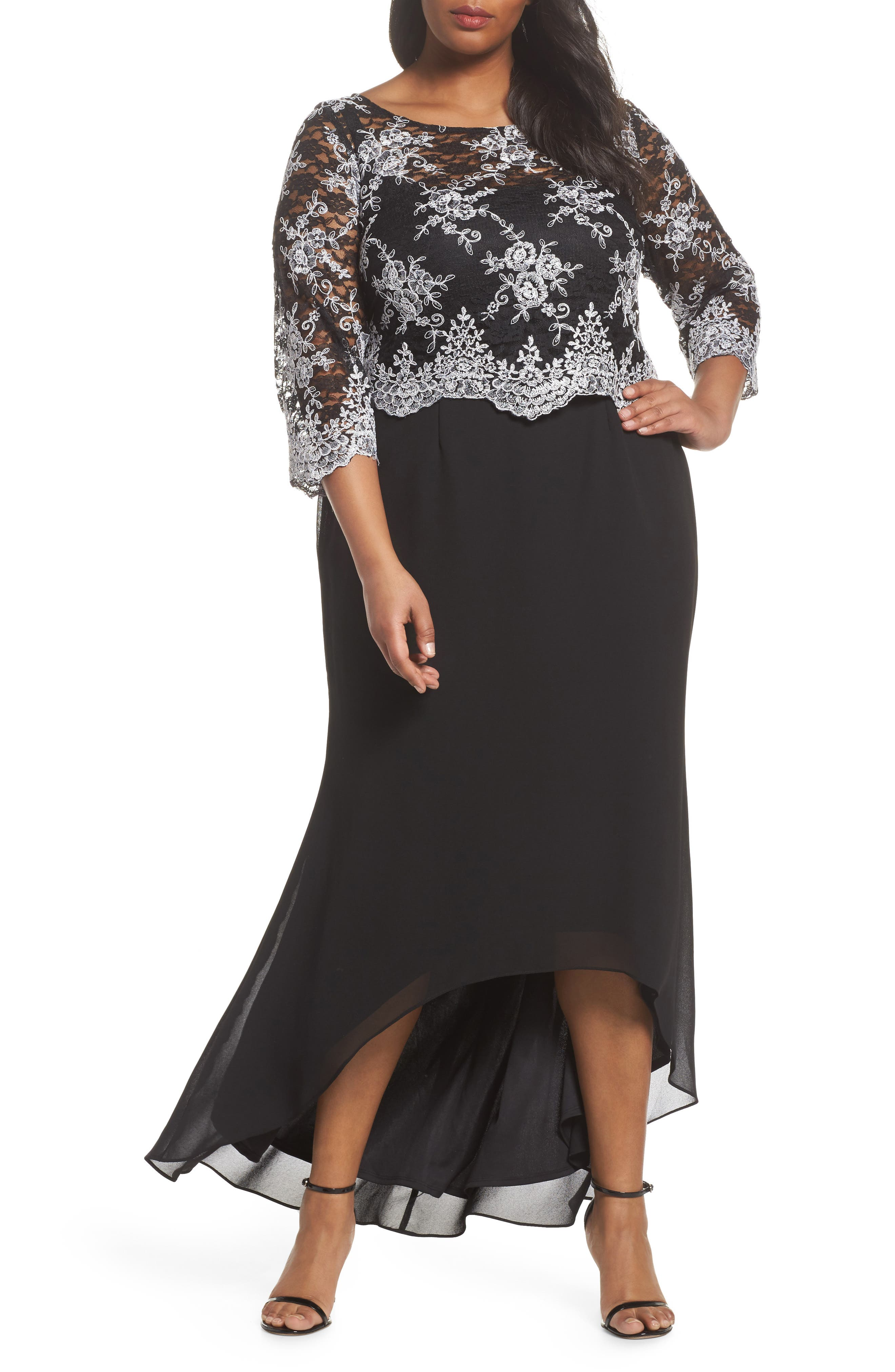 Embroidered Lace Bodice High/Low Gown,                             Main thumbnail 1, color,                             BLACK/ WHITE