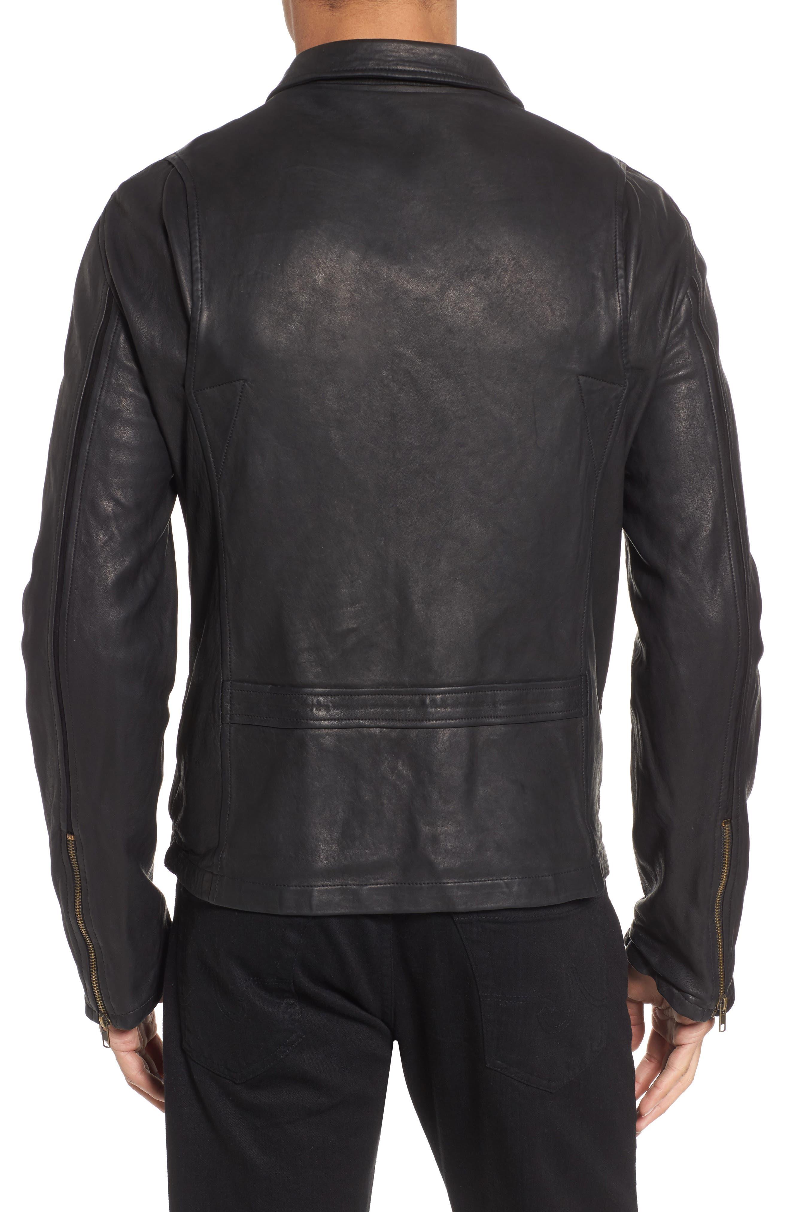 Blake Leather Jacket,                             Alternate thumbnail 2, color,                             BLACK