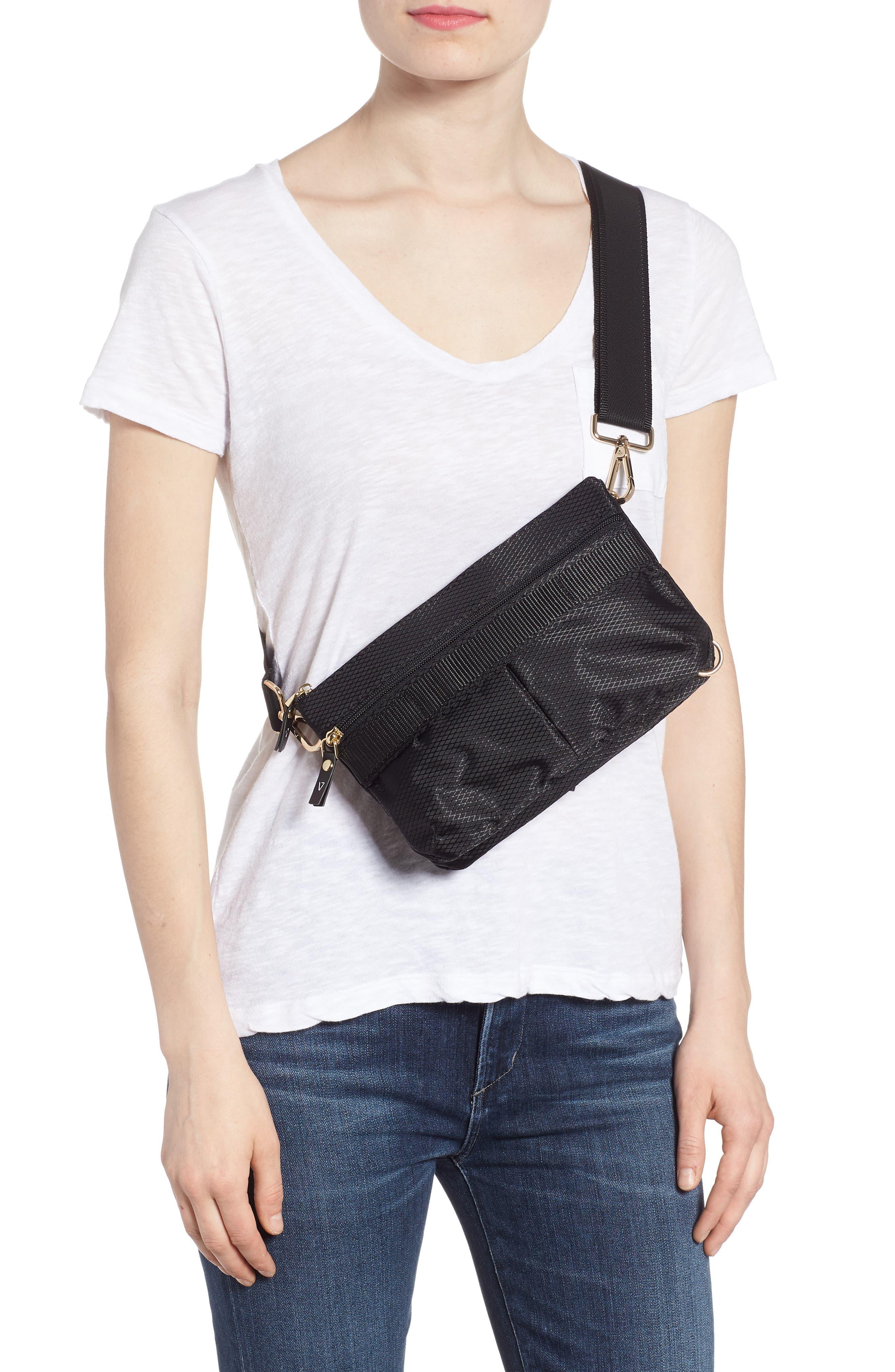 Go Black Expandable Belt Bag,                             Alternate thumbnail 3, color,                             BLACK