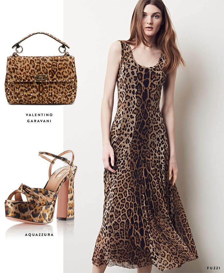 Animal-print designer dresses, bags and shoes.