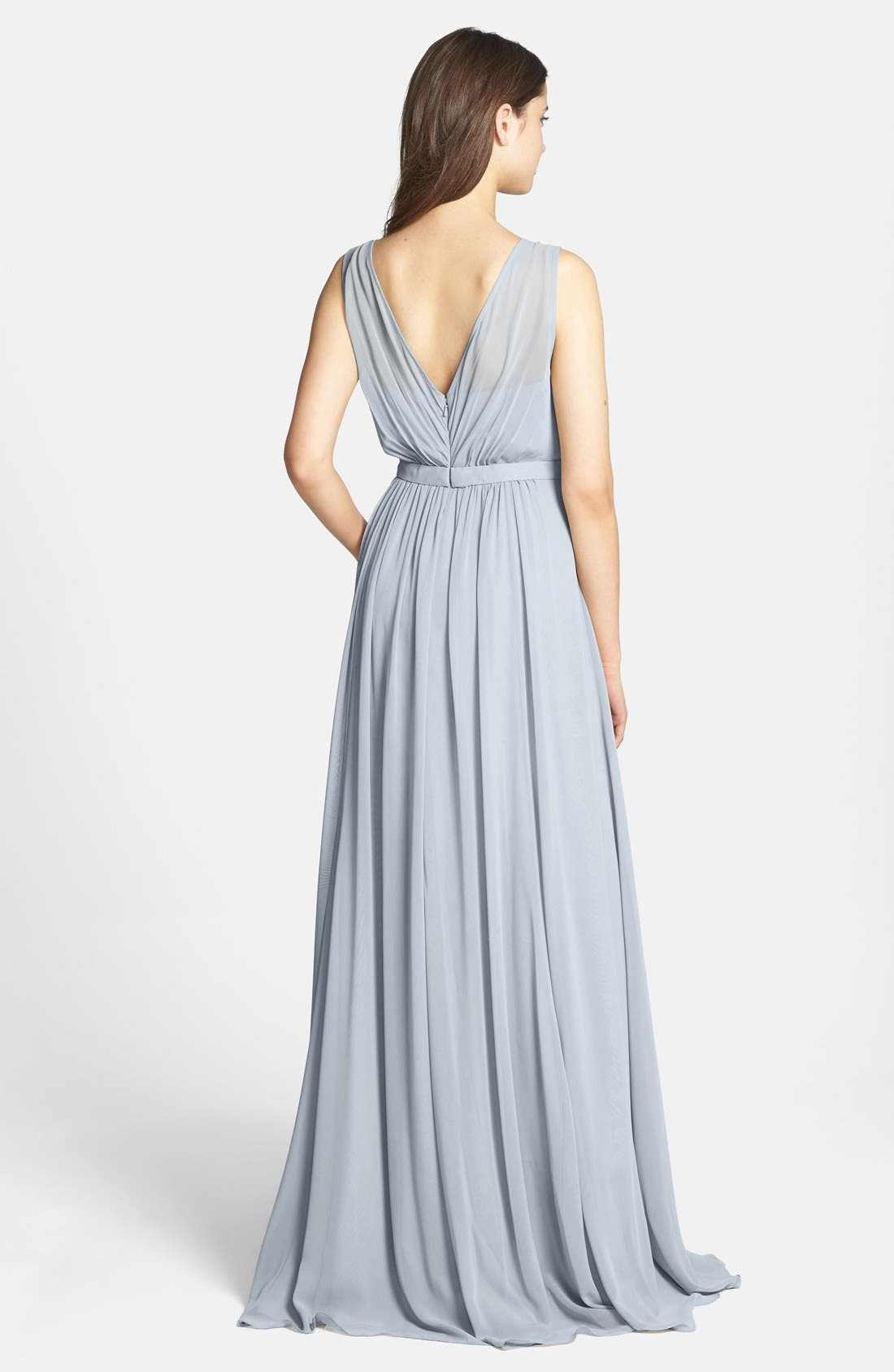 Vivienne Pleated Chiffon Gown,                             Alternate thumbnail 19, color,