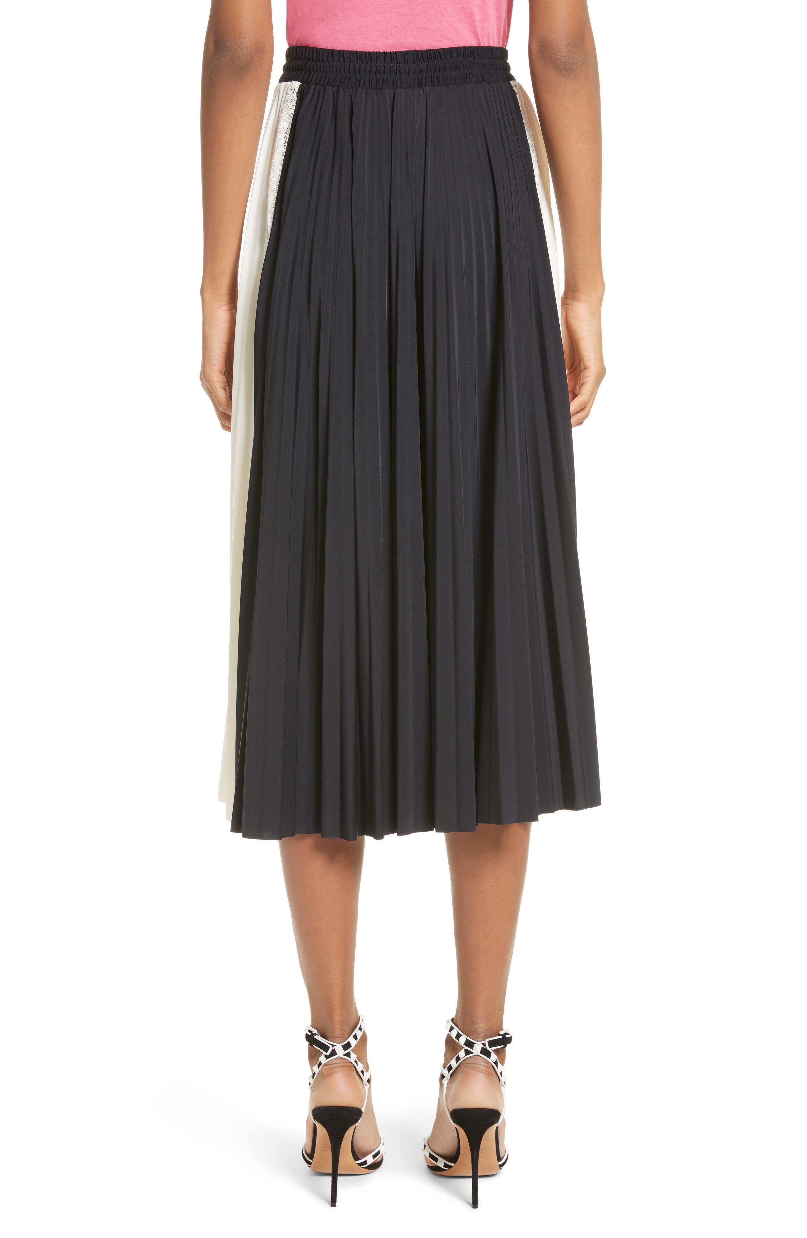 Bicolor Jersey & Lace Plissé Skirt,                             Alternate thumbnail 2, color,                             001
