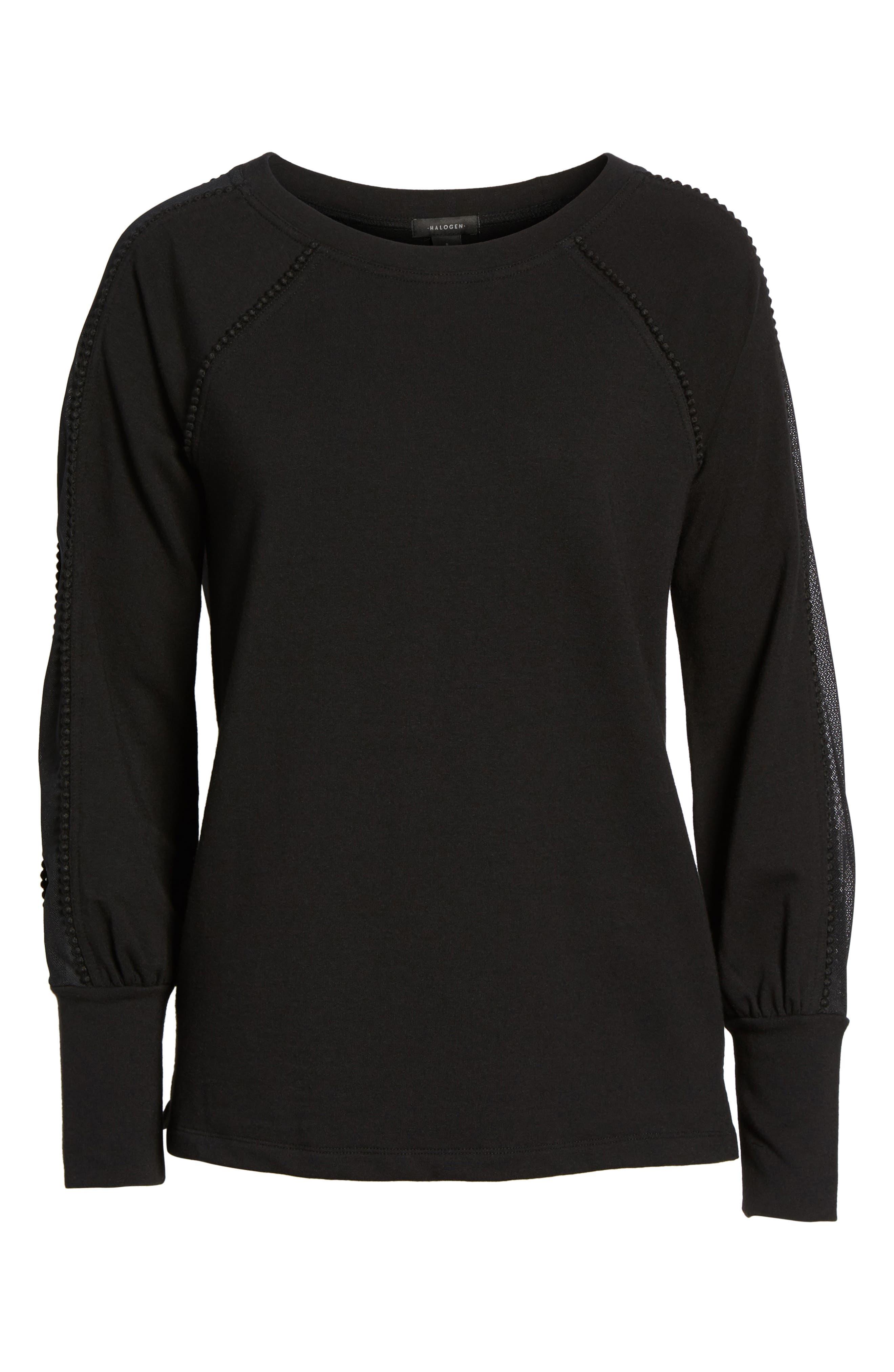 Mesh Inset Sleeve Sweatshirt,                             Alternate thumbnail 6, color,                             001
