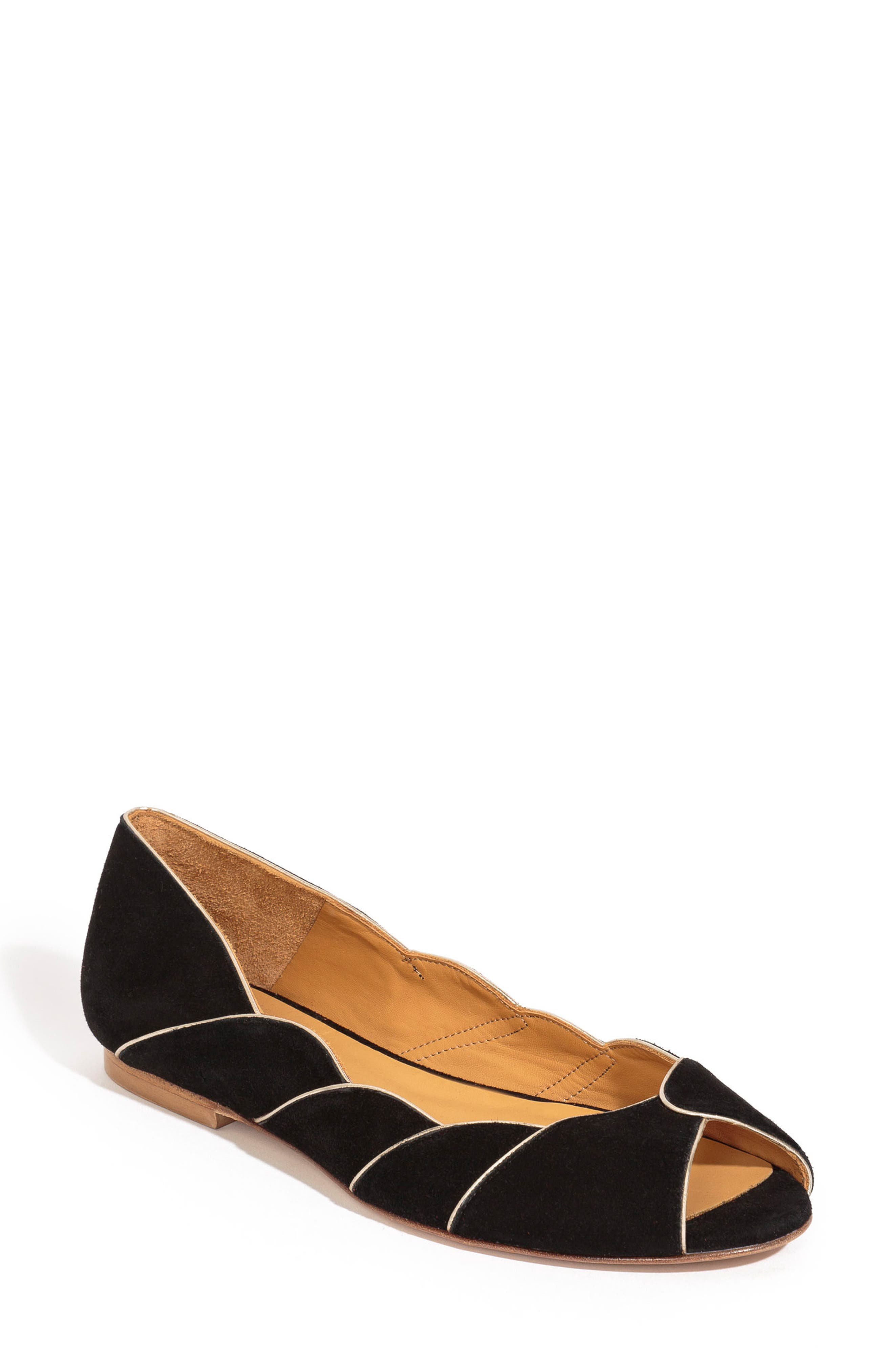 Suzanne Peep Toe Flat,                             Main thumbnail 1, color,                             BLACK/ GOLD SUEDE