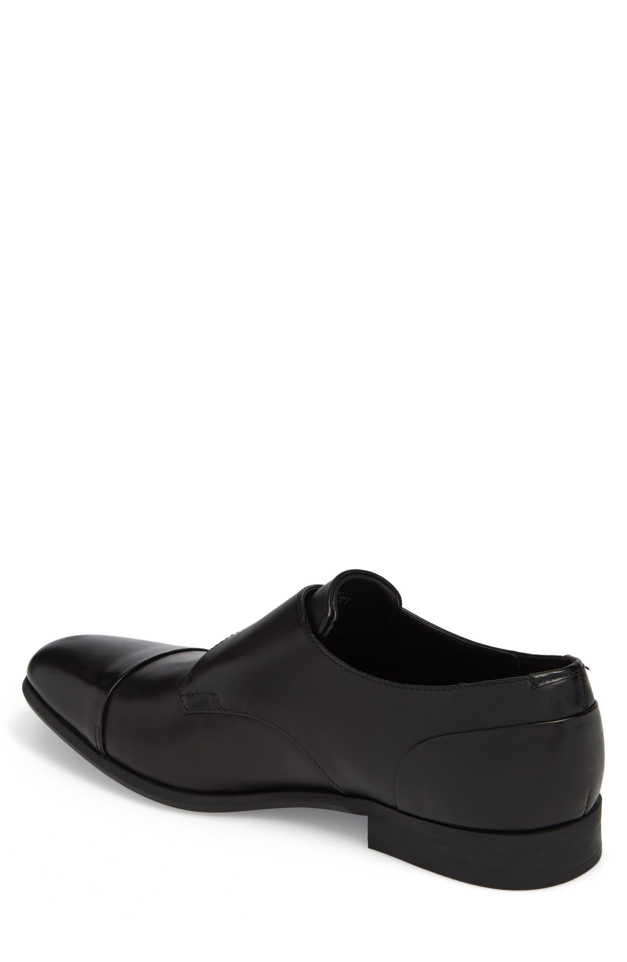 Lucus Monk Strap Shoe,                             Alternate thumbnail 2, color,                             BLACK LEATHER