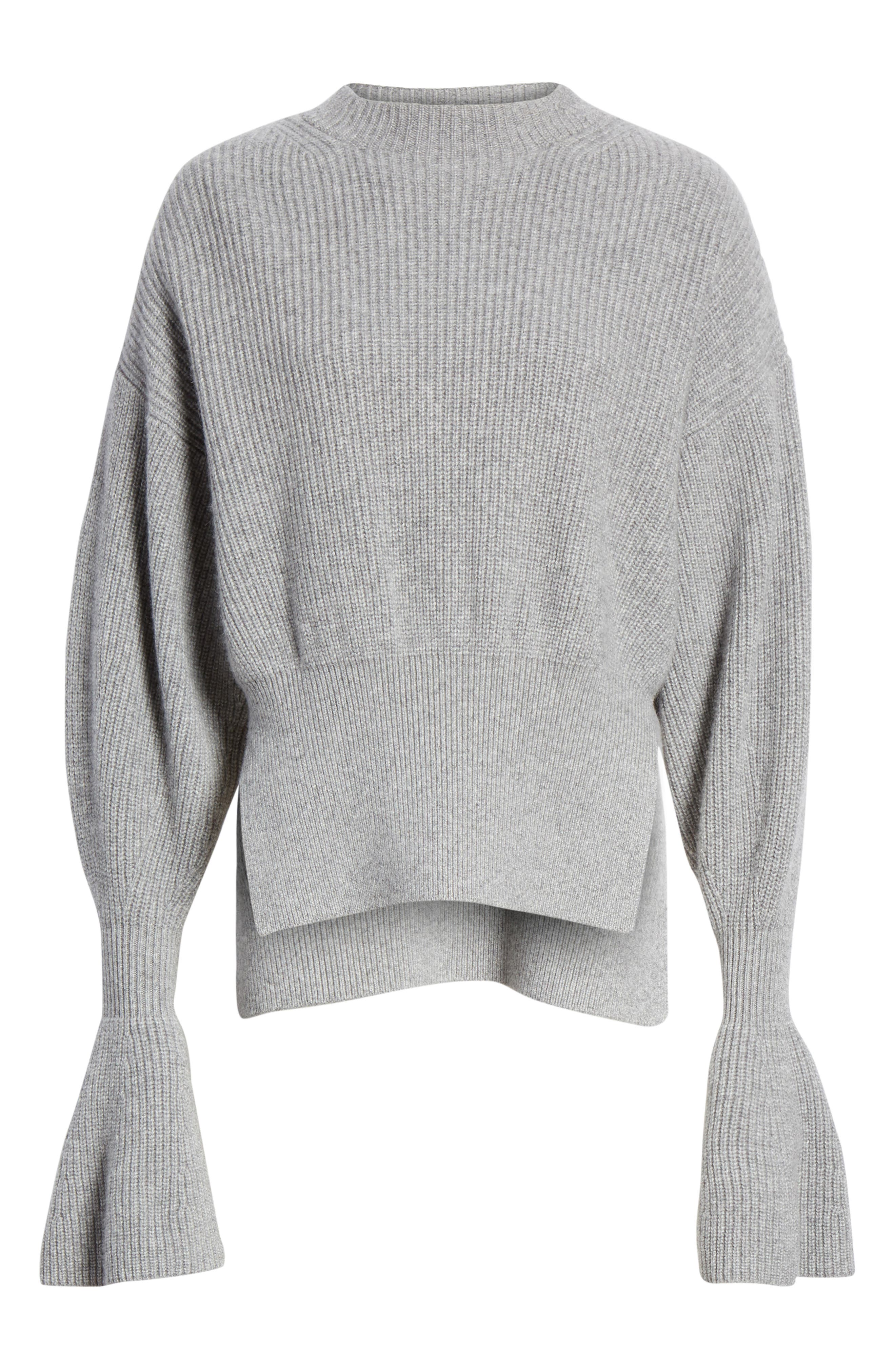 Side Split Merino Wool & Cashmere Blend Sweater,                             Alternate thumbnail 7, color,                             HEATHER GREY