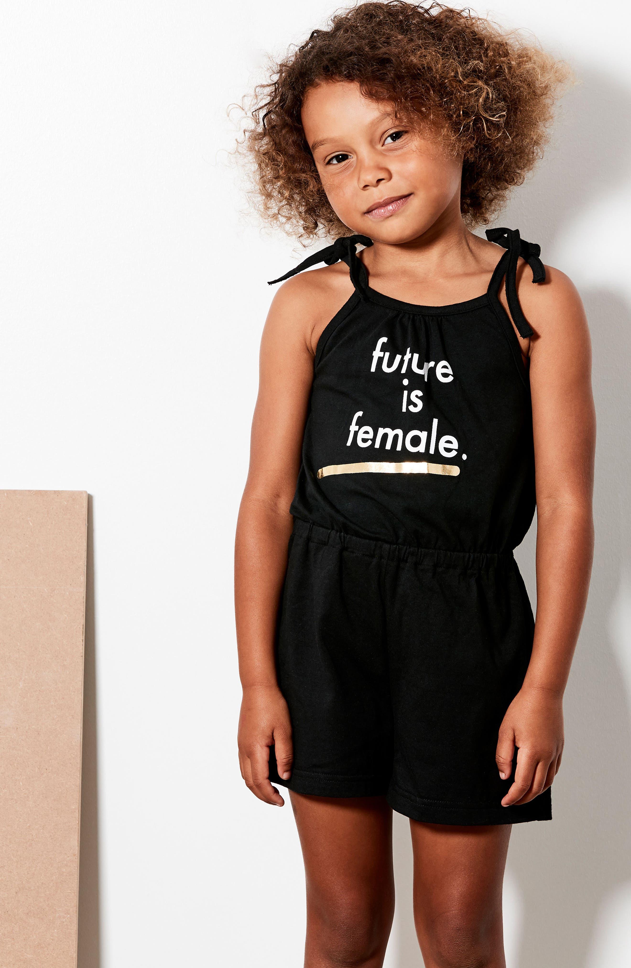 Future is Female Graphic Romper,                             Alternate thumbnail 4, color,                             BLACK