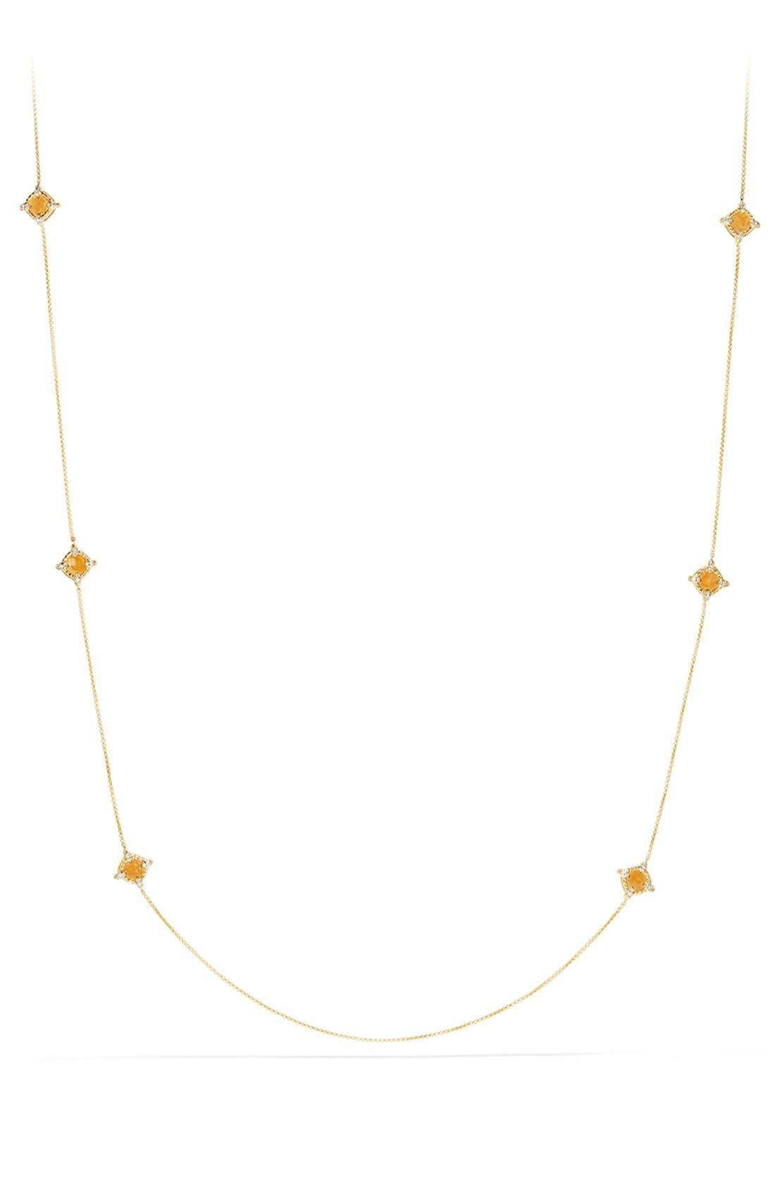 'Châtelaine' Long Semiprecious Stone Necklace with Diamonds,                             Alternate thumbnail 2, color,                             CITRINE