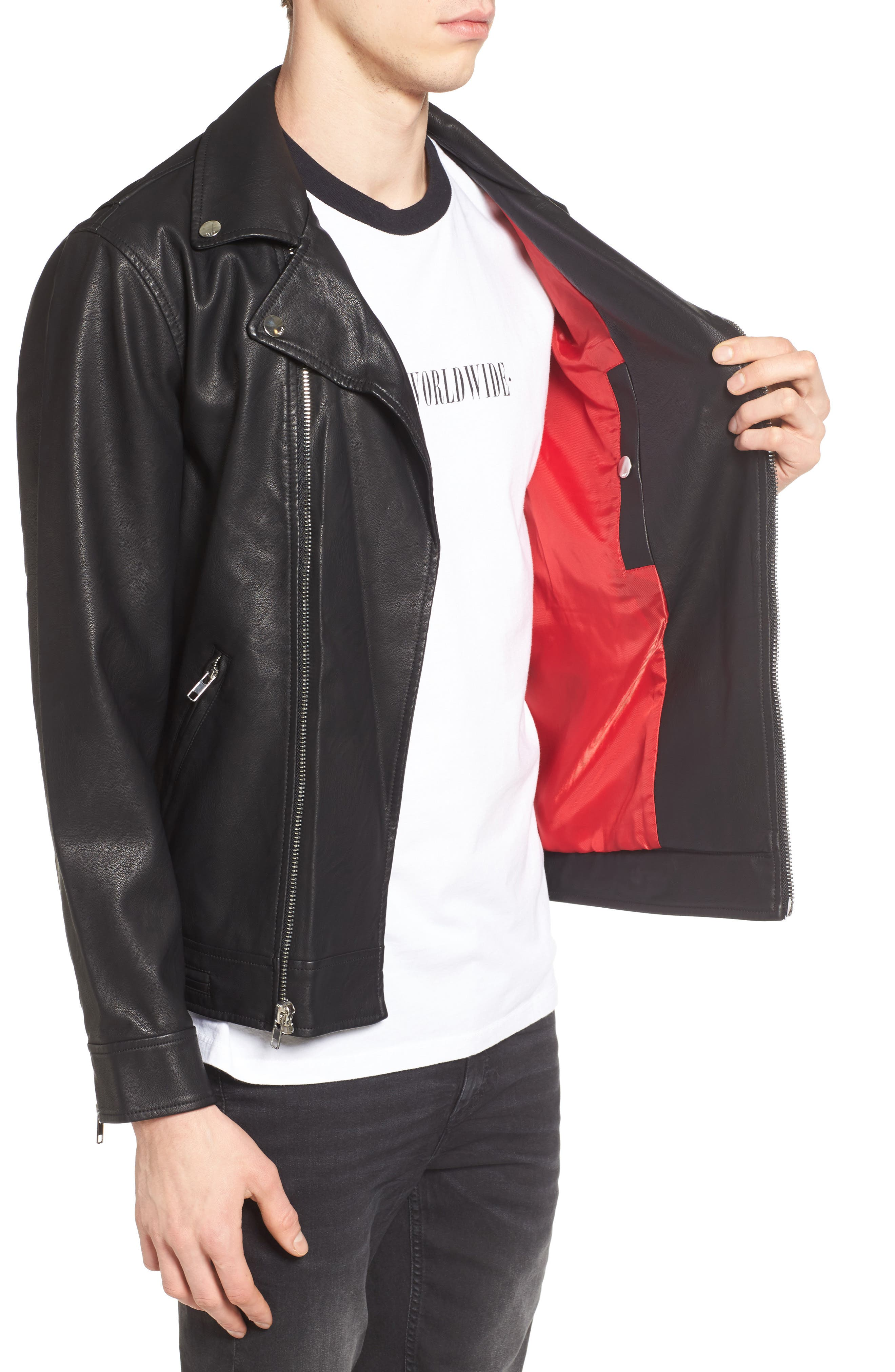 Bastards Faux Leather Biker Jacket,                             Alternate thumbnail 3, color,                             BLACK