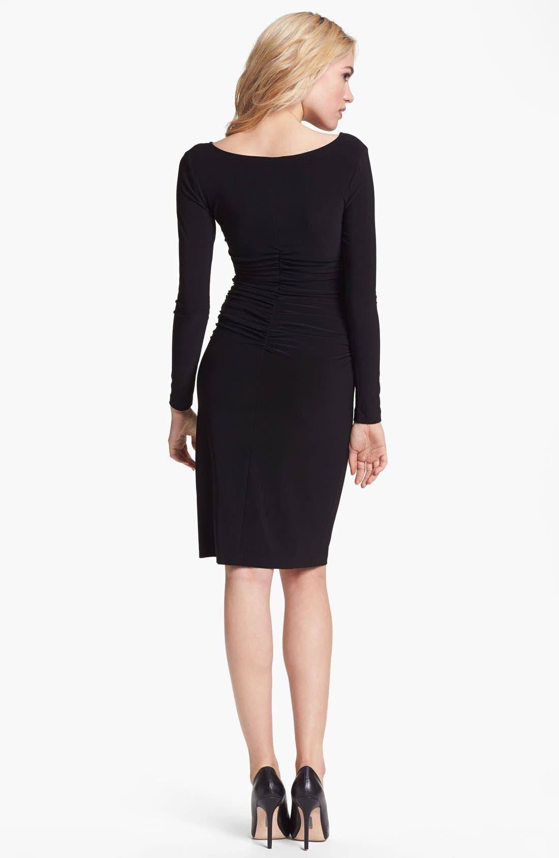 Shirred Long Sleeve Dress,                             Alternate thumbnail 4, color,                             001