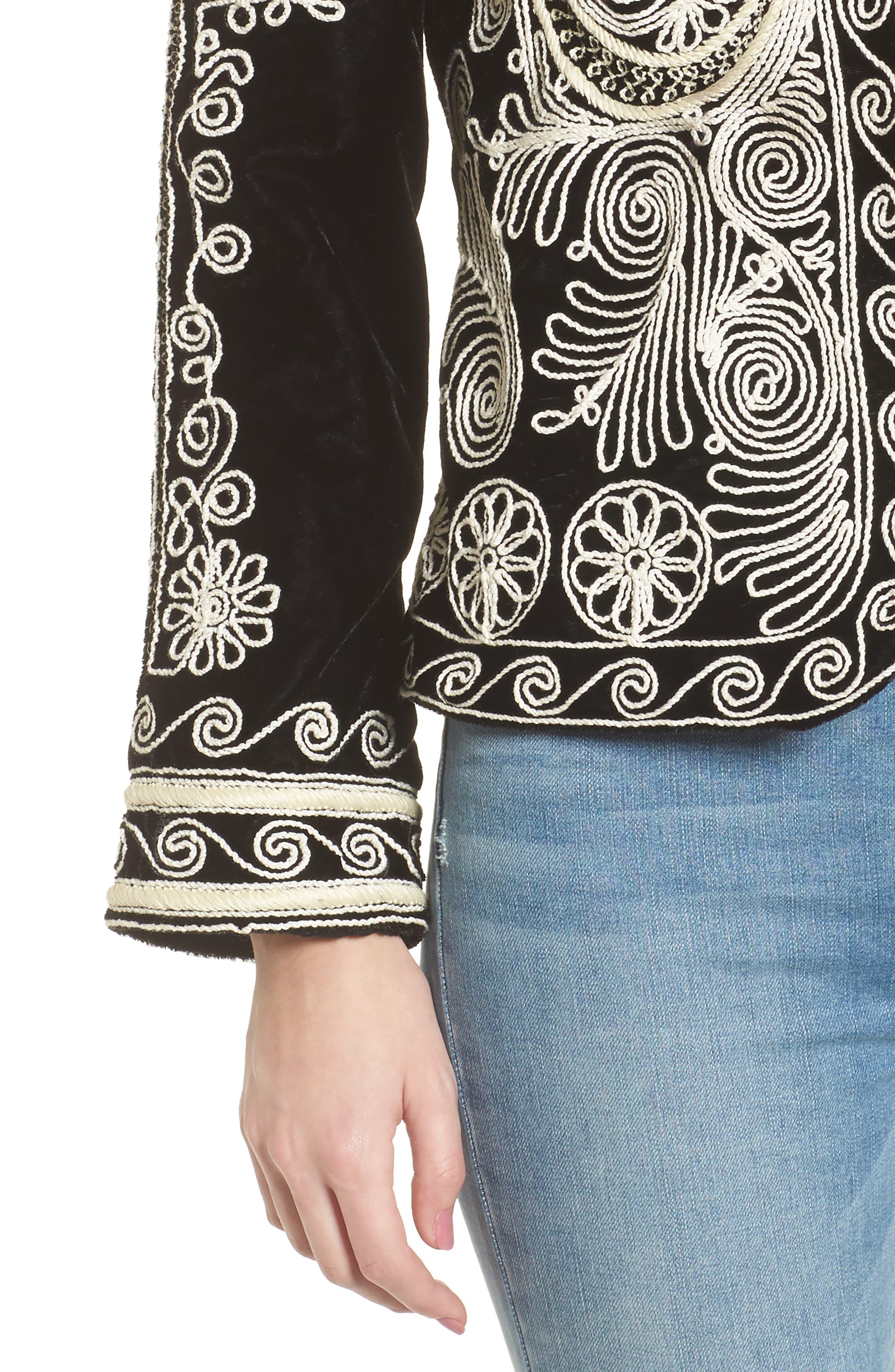 Embroidered Velvet Jacket,                             Alternate thumbnail 4, color,                             001