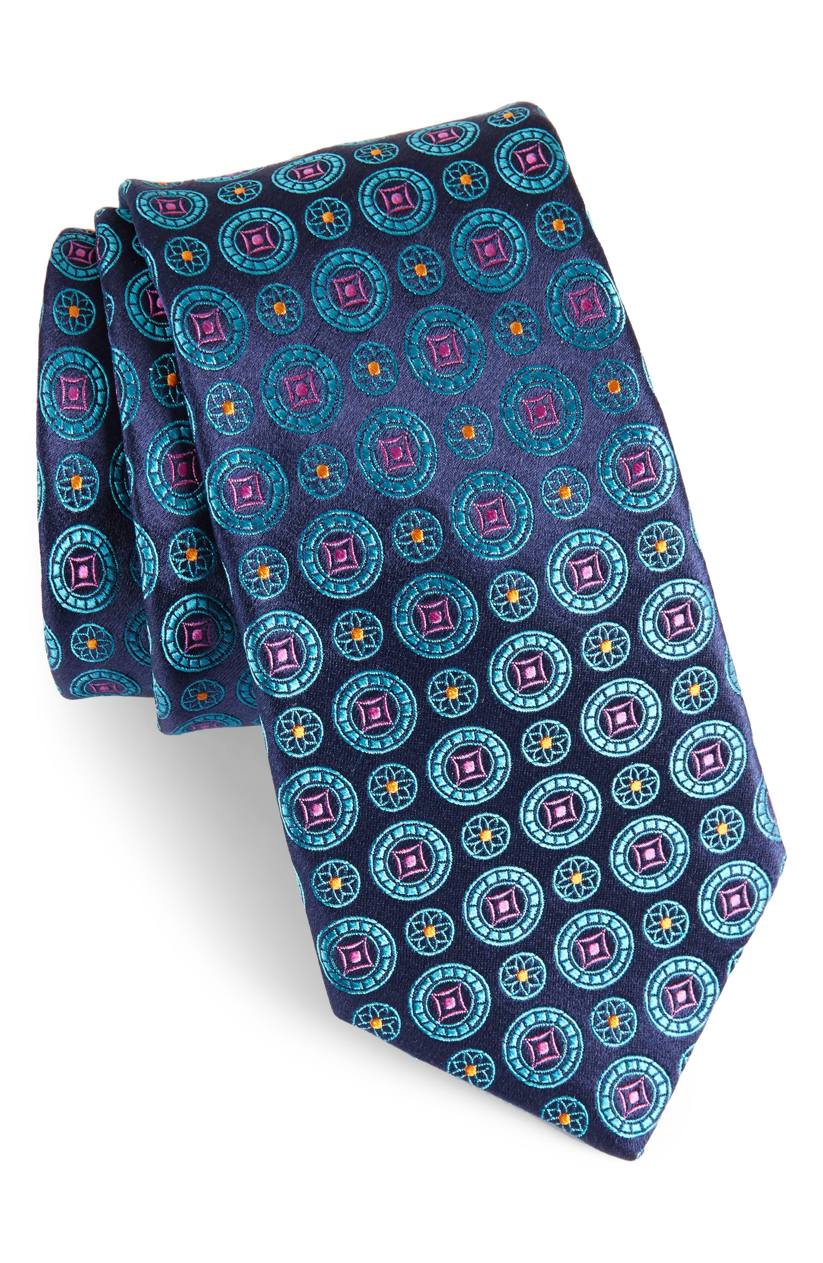 Medallion Silk Tie,                             Main thumbnail 1, color,                             435