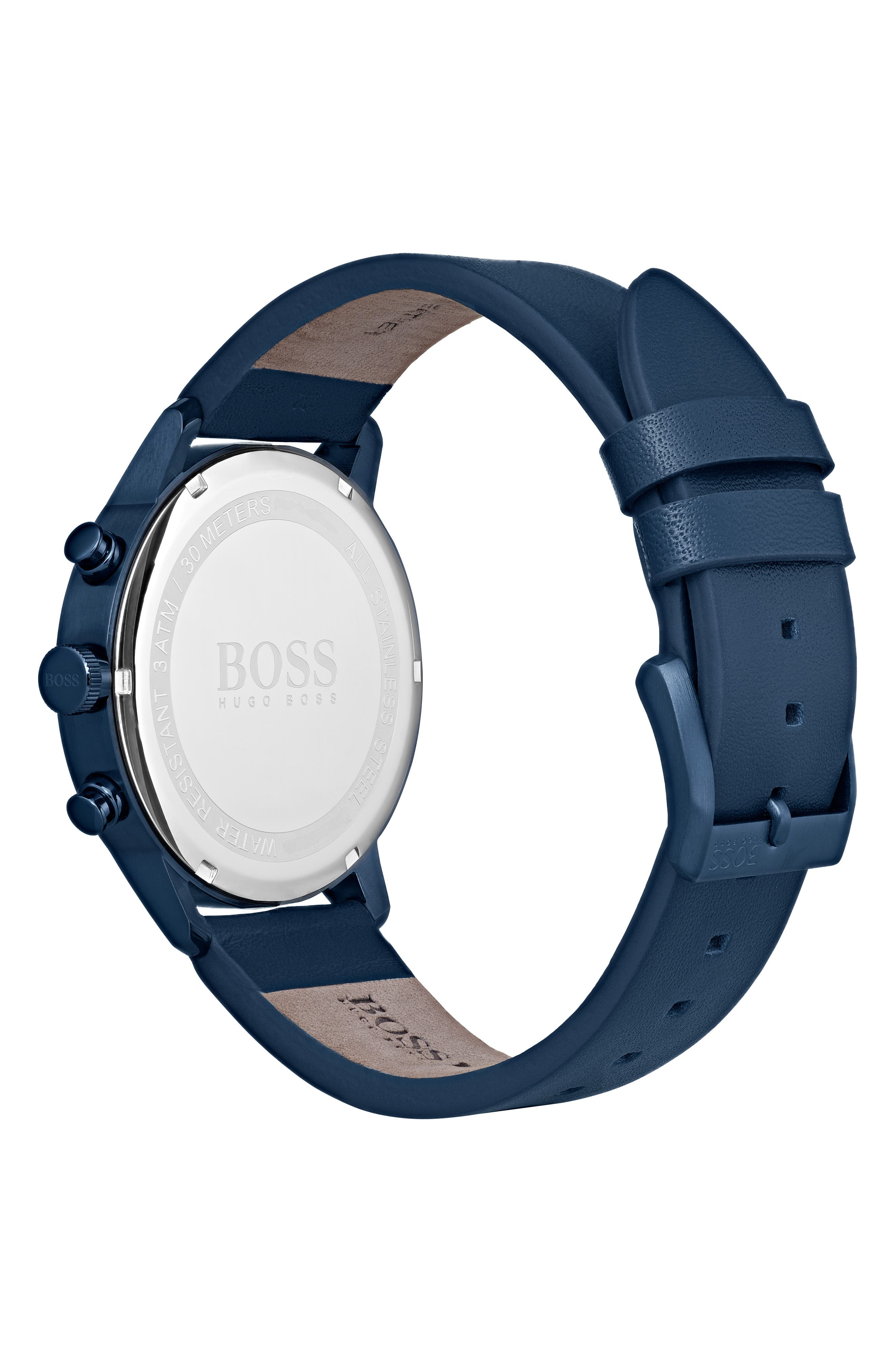 Architectural Chronograph Leather Strap Watch, 44mm,                             Alternate thumbnail 2, color,                             NAVY/ NAVY