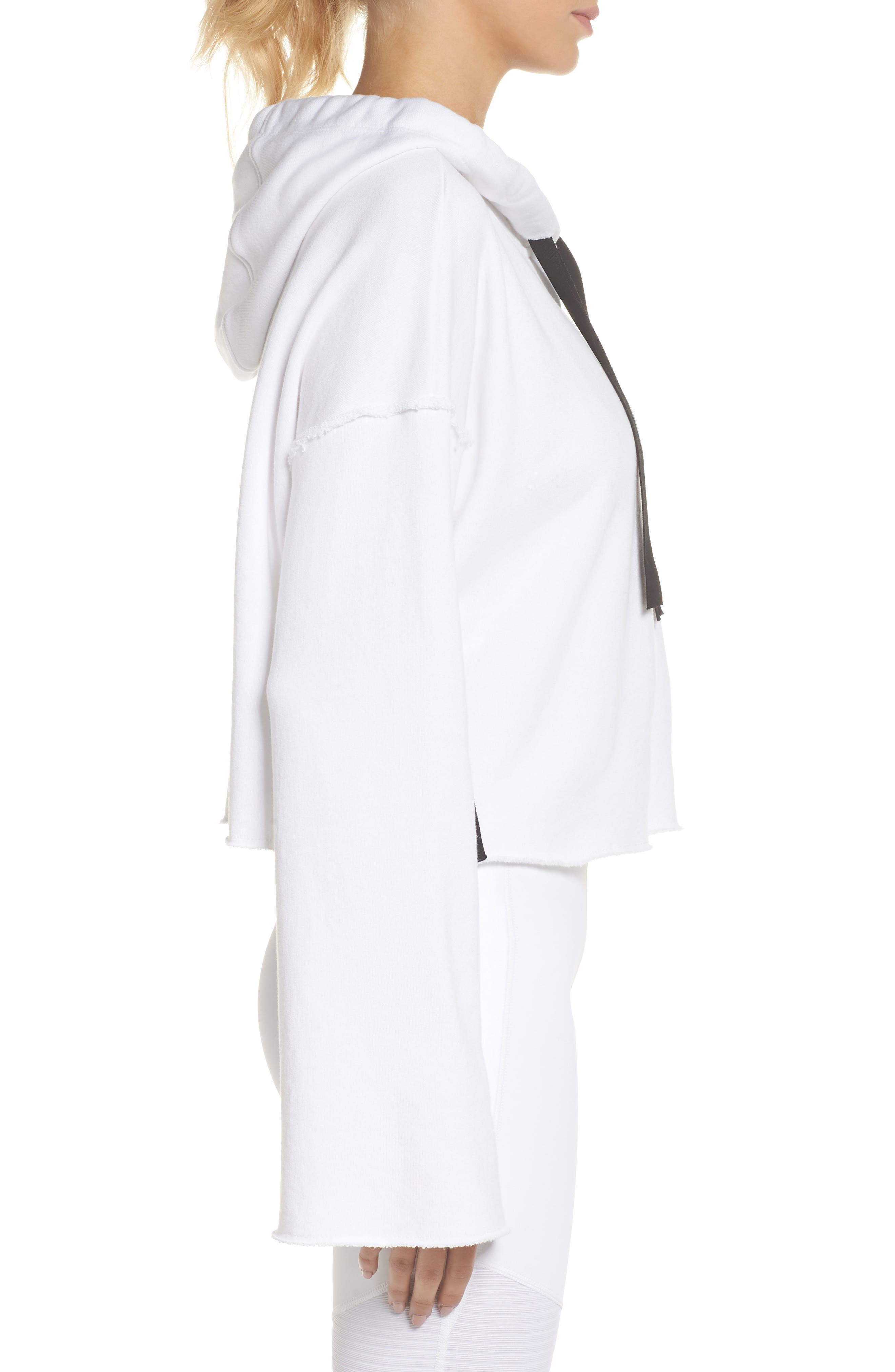 Stance Bell Sleeve Crop Hoodie,                             Alternate thumbnail 3, color,                             WHITE