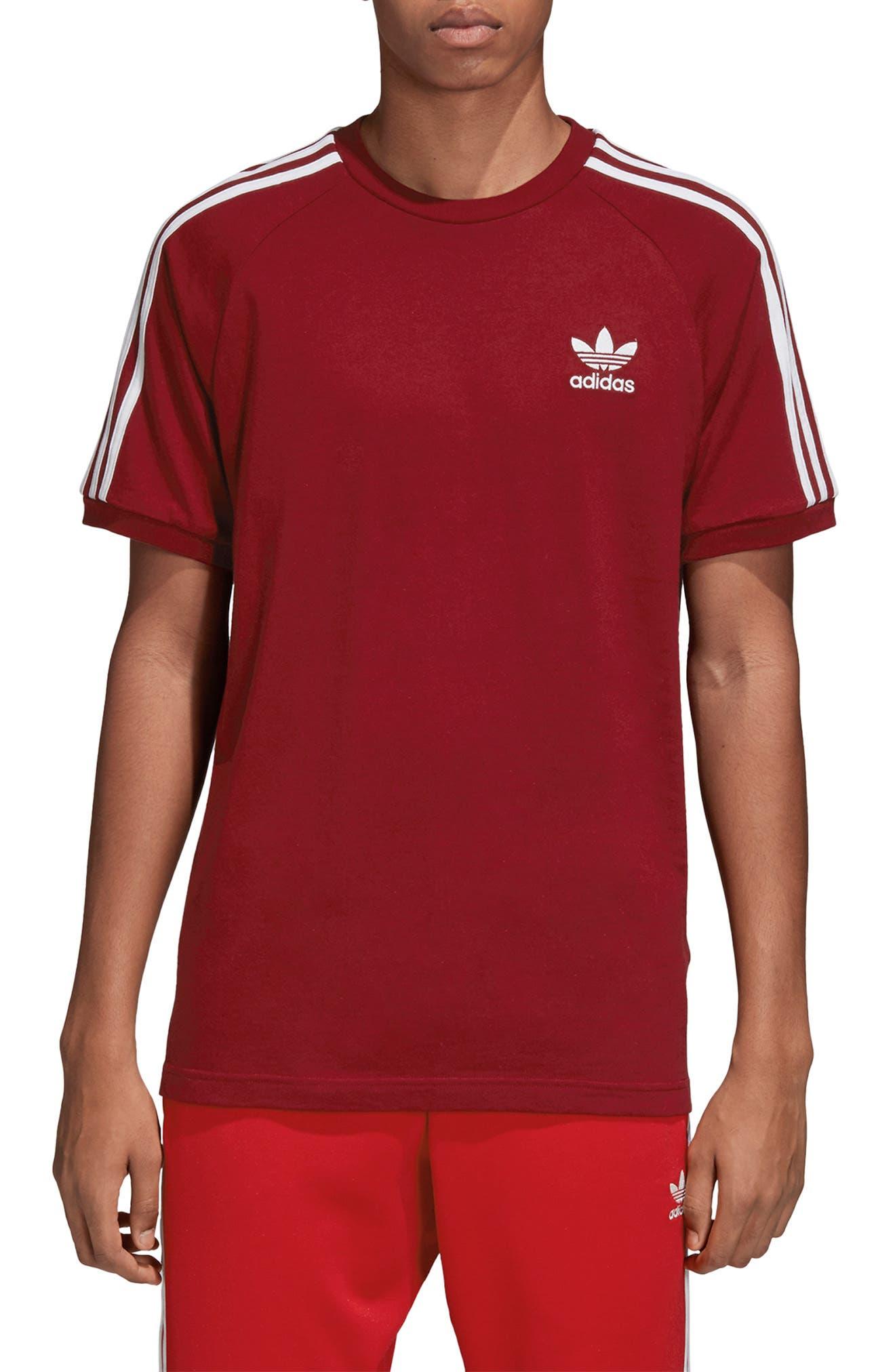 Adidas Originals 3-Stripes T-Shirt, Burgundy