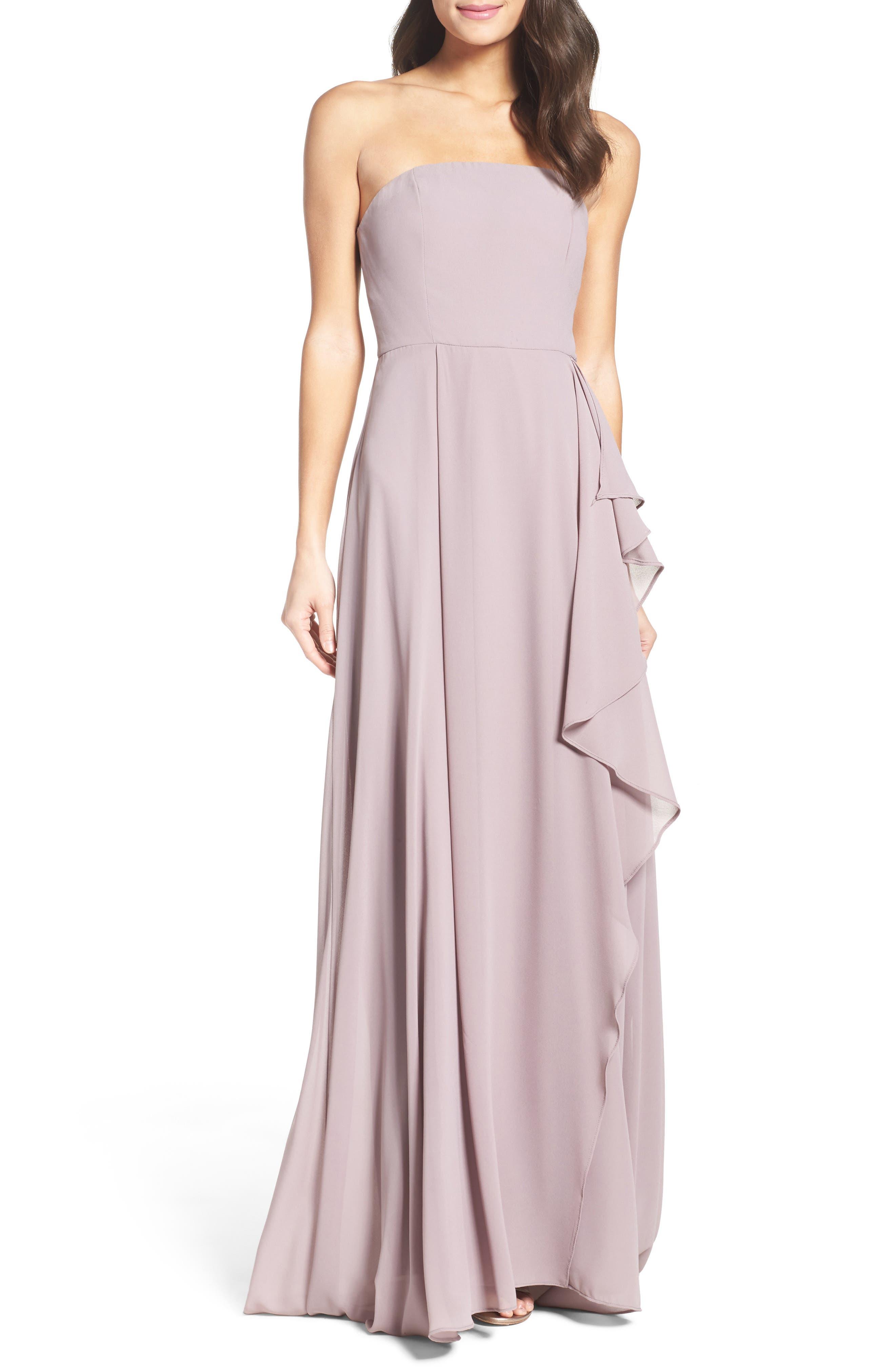 Chiffon Strapless Maxi Dress,                             Main thumbnail 1, color,                             020