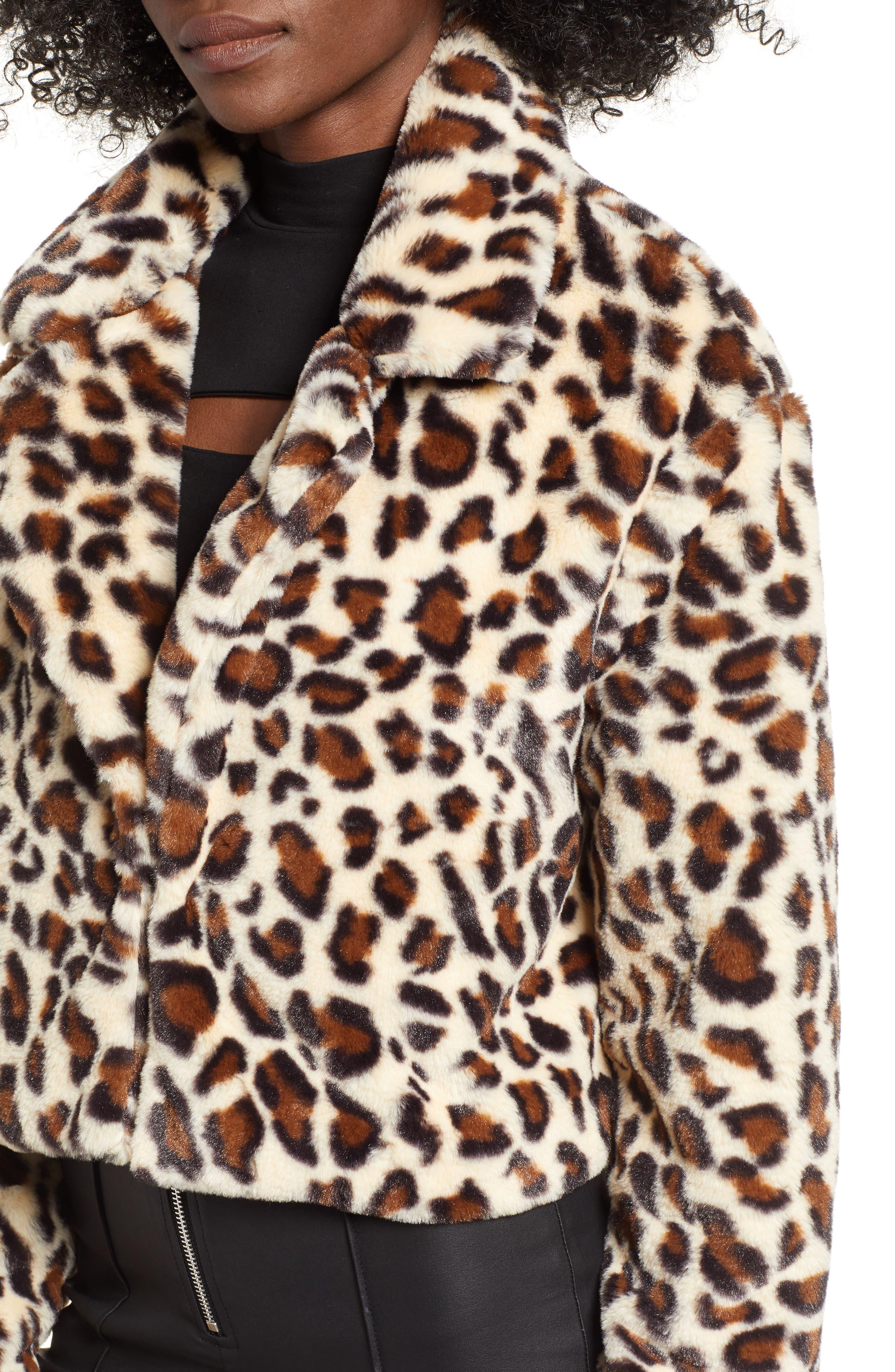 Mimi Faux Fur Jacket,                             Alternate thumbnail 4, color,                             LEOPARD