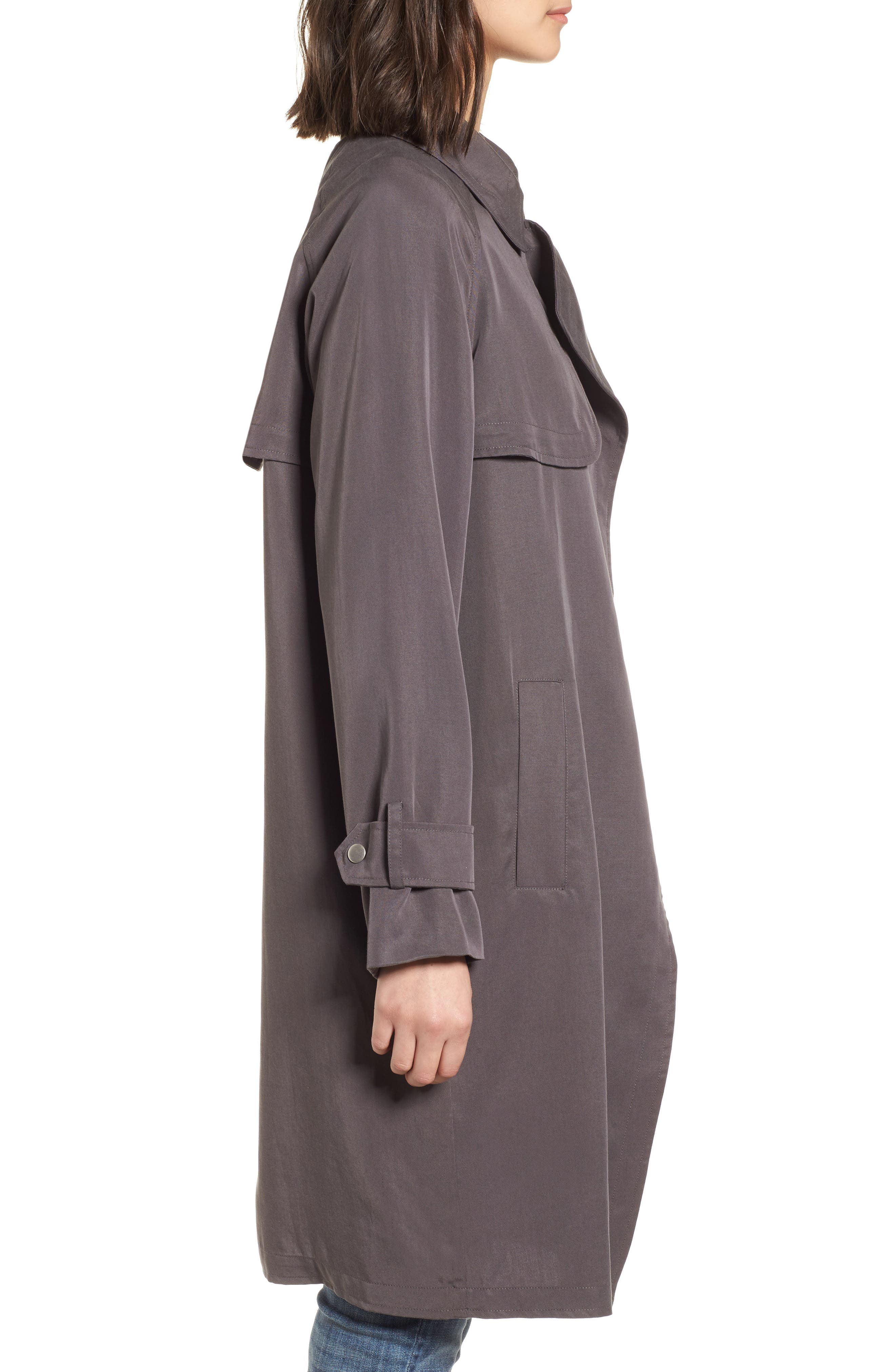 Ella Drape Trench Coat,                             Alternate thumbnail 3, color,                             020