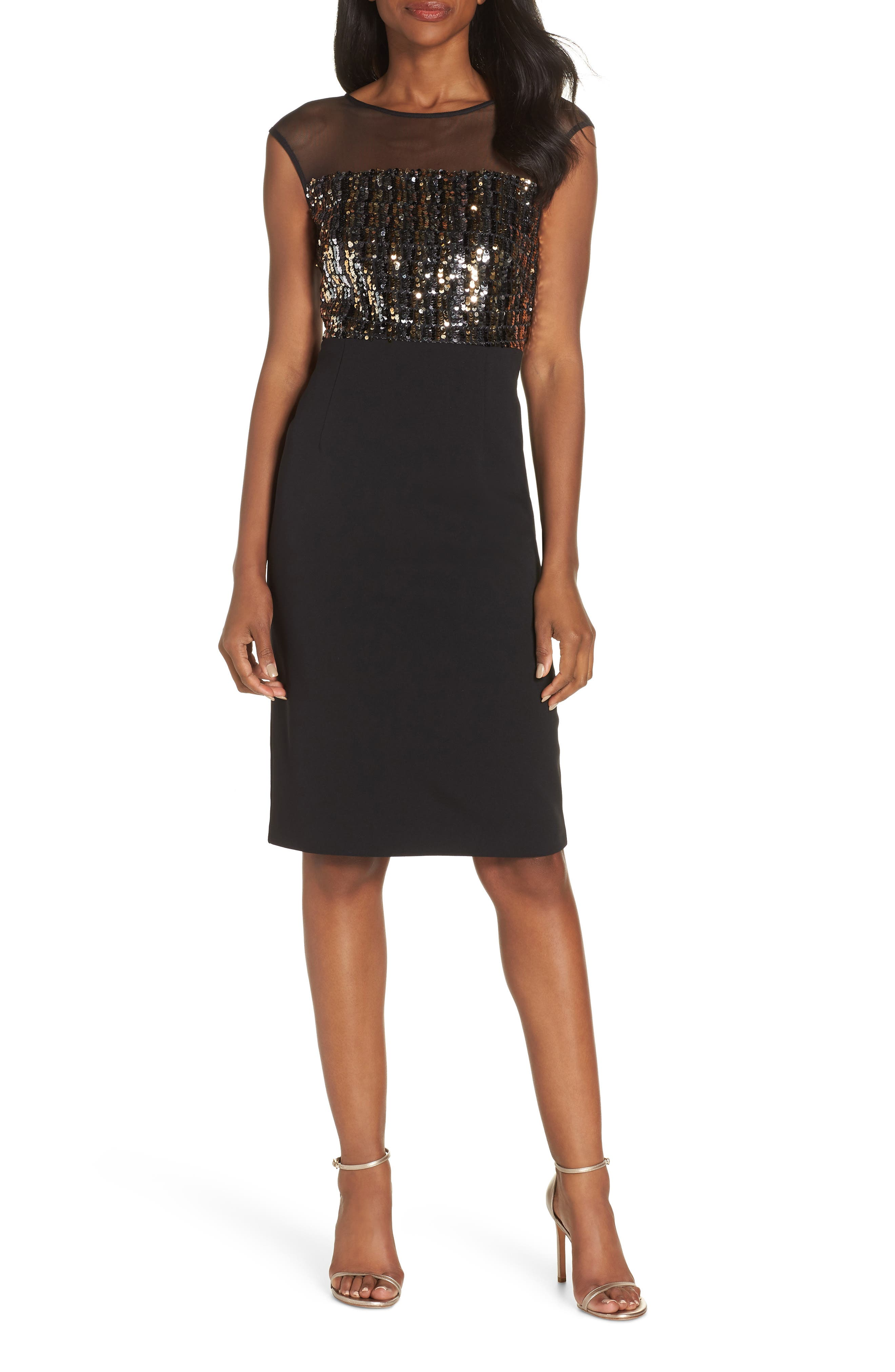 Vince Camuto Metallic Sequin Body-Con Dress, Black