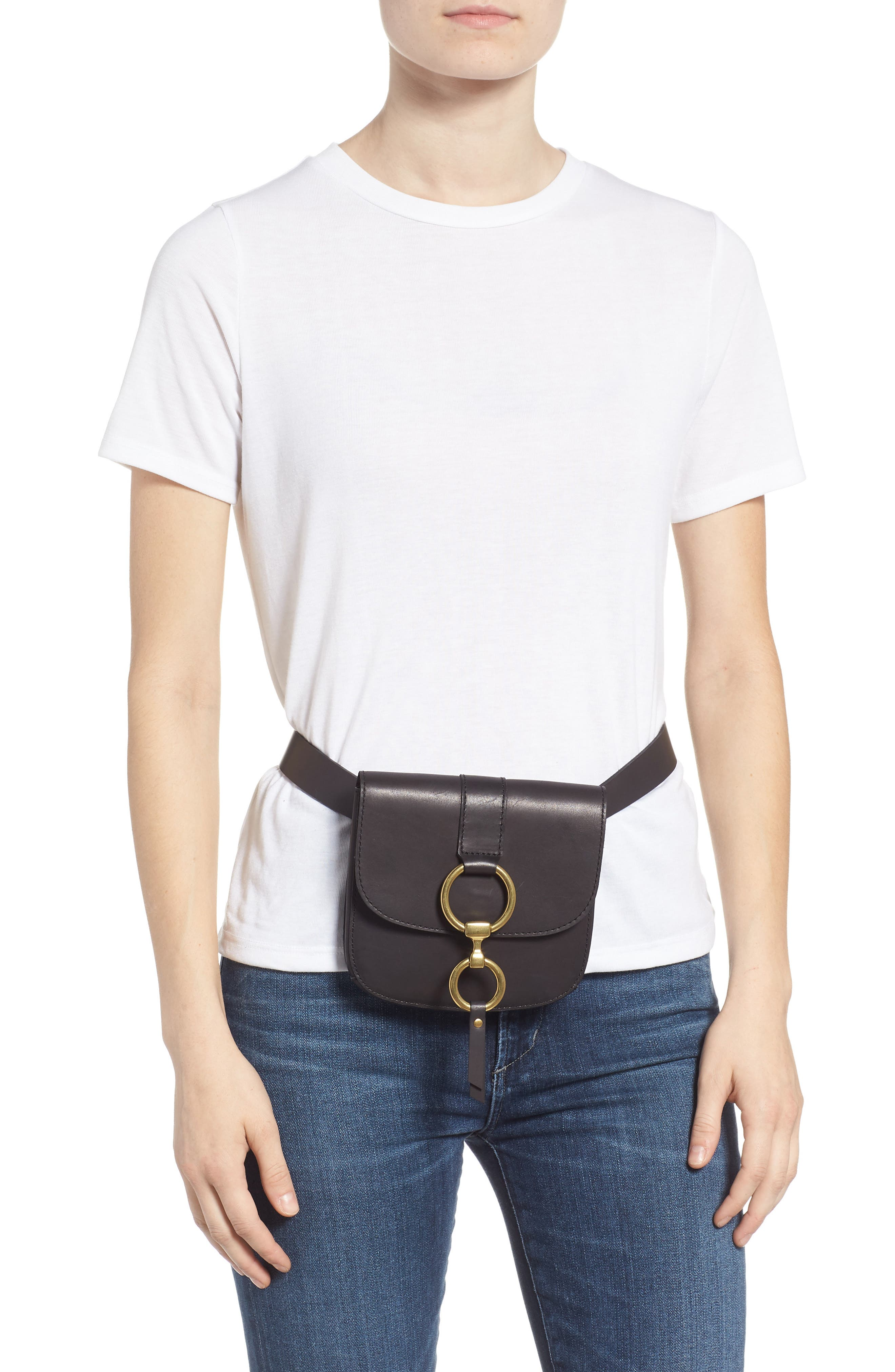 Leather Belt Bag,                             Alternate thumbnail 2, color,                             BLACK/ ECRU STITCH
