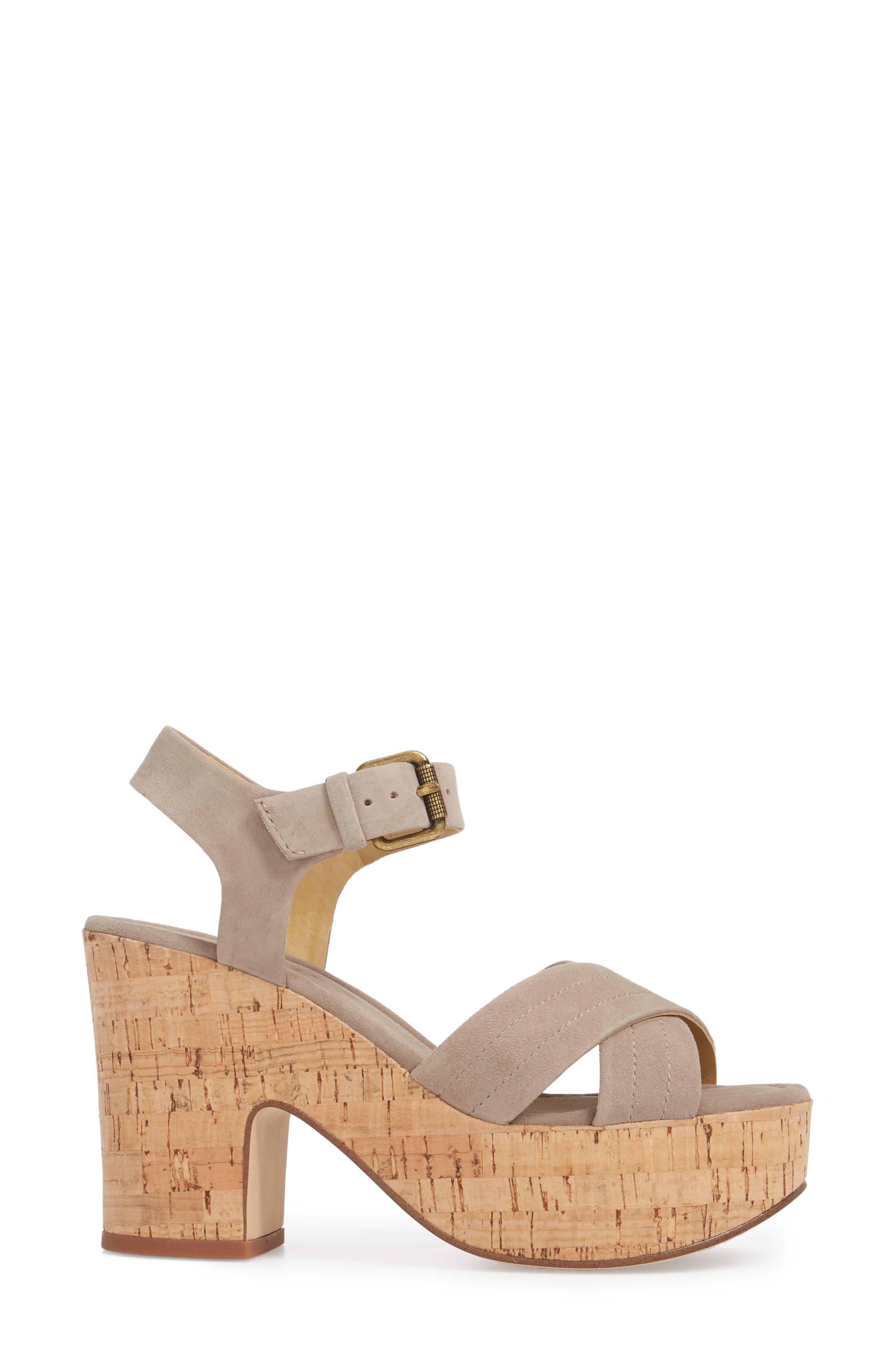 Flaire Platform Sandal,                             Alternate thumbnail 3, color,                             TAUPE SUEDE