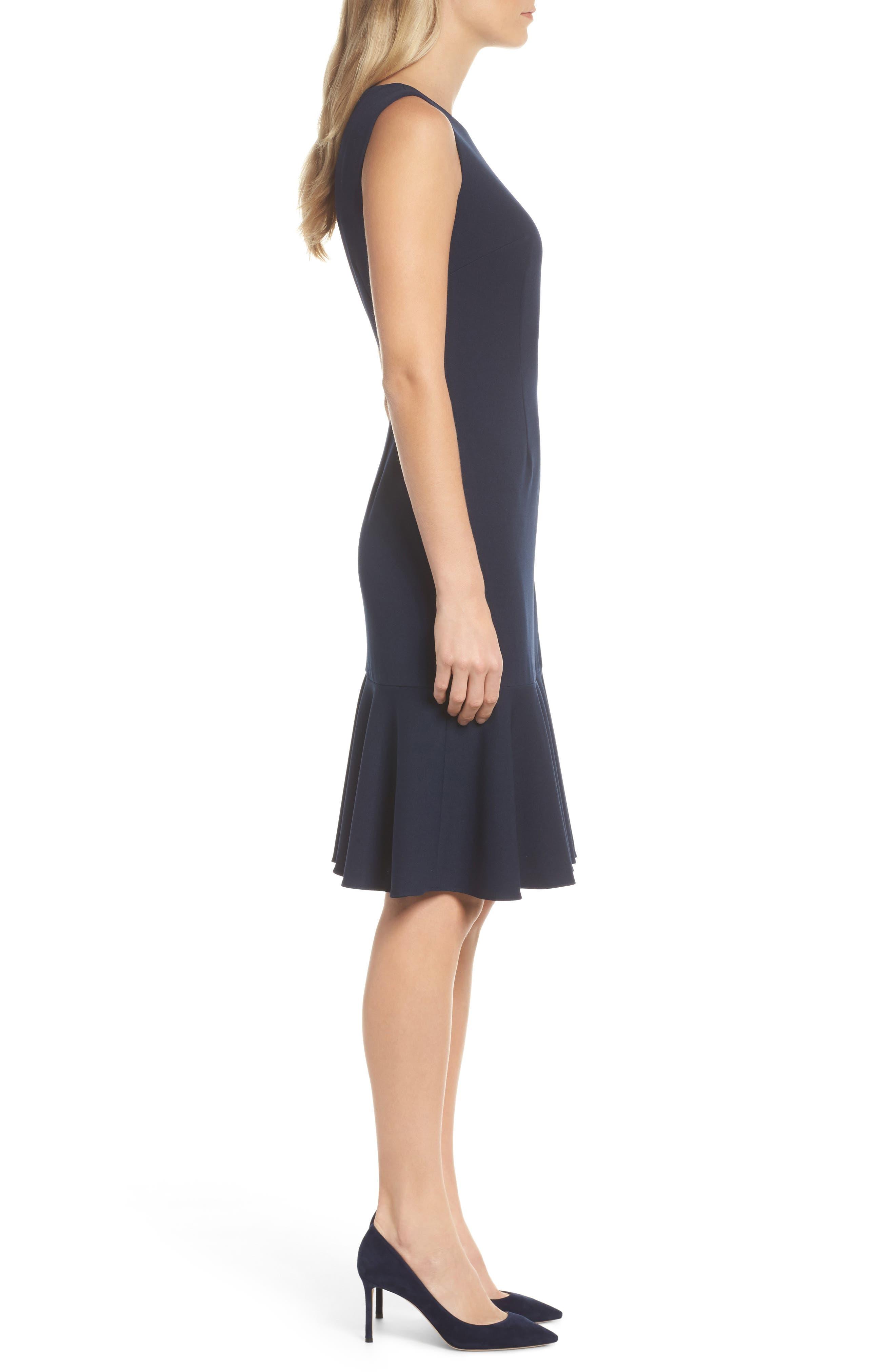 Knit Crepe Sheath Dress,                             Alternate thumbnail 3, color,