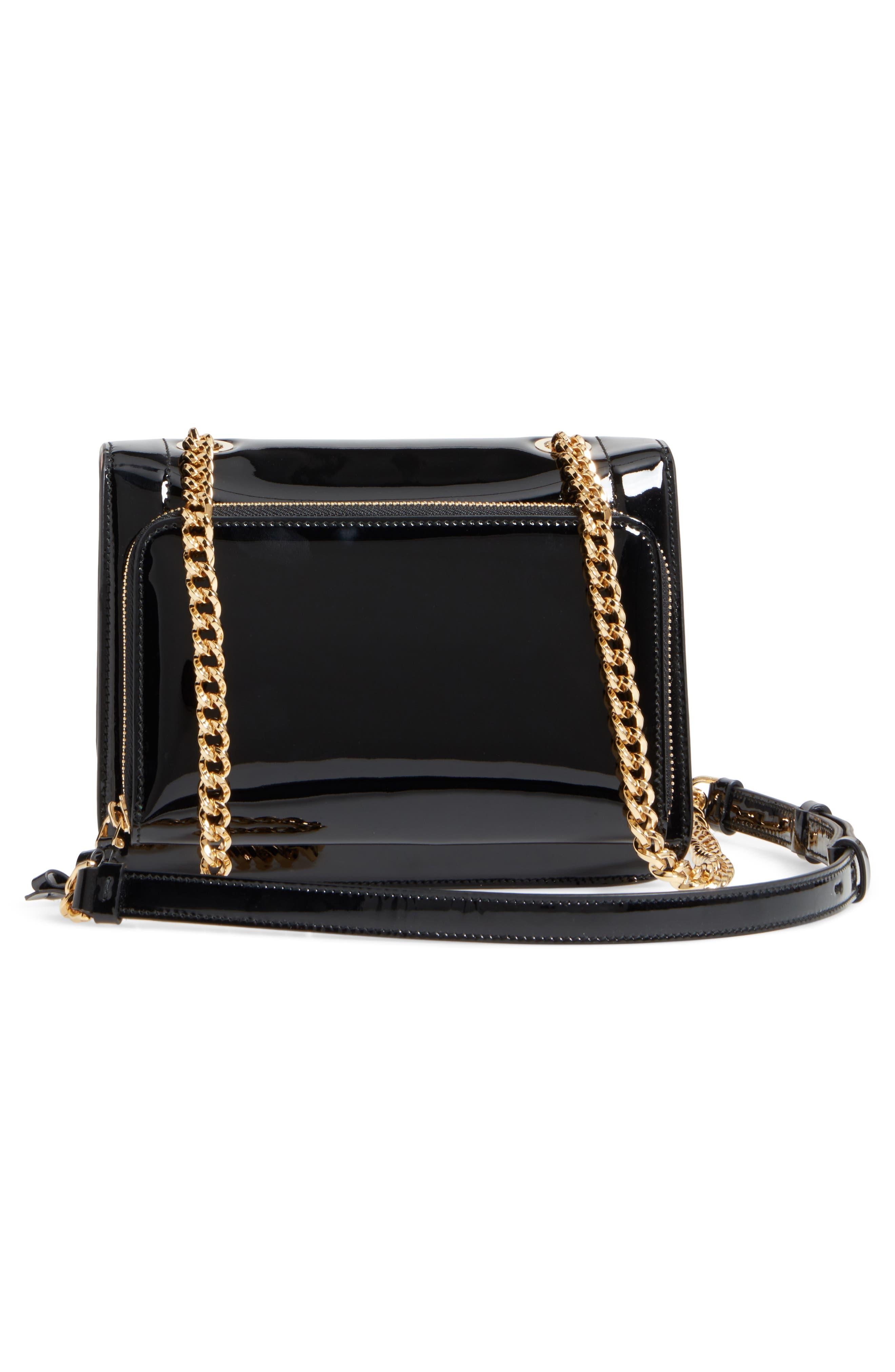 Vara Patent Leather Shoulder Bag,                             Alternate thumbnail 3, color,                             NERO/ BONBON
