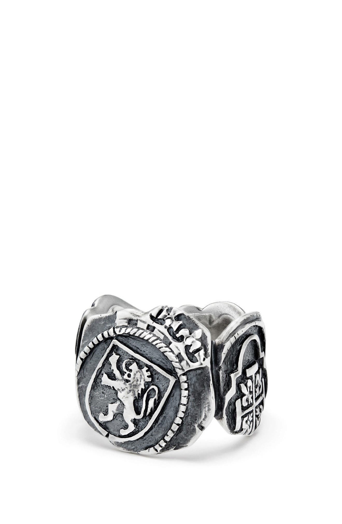 Shipwreck Signet Coin Ring, 20mm,                         Main,                         color, SILVER