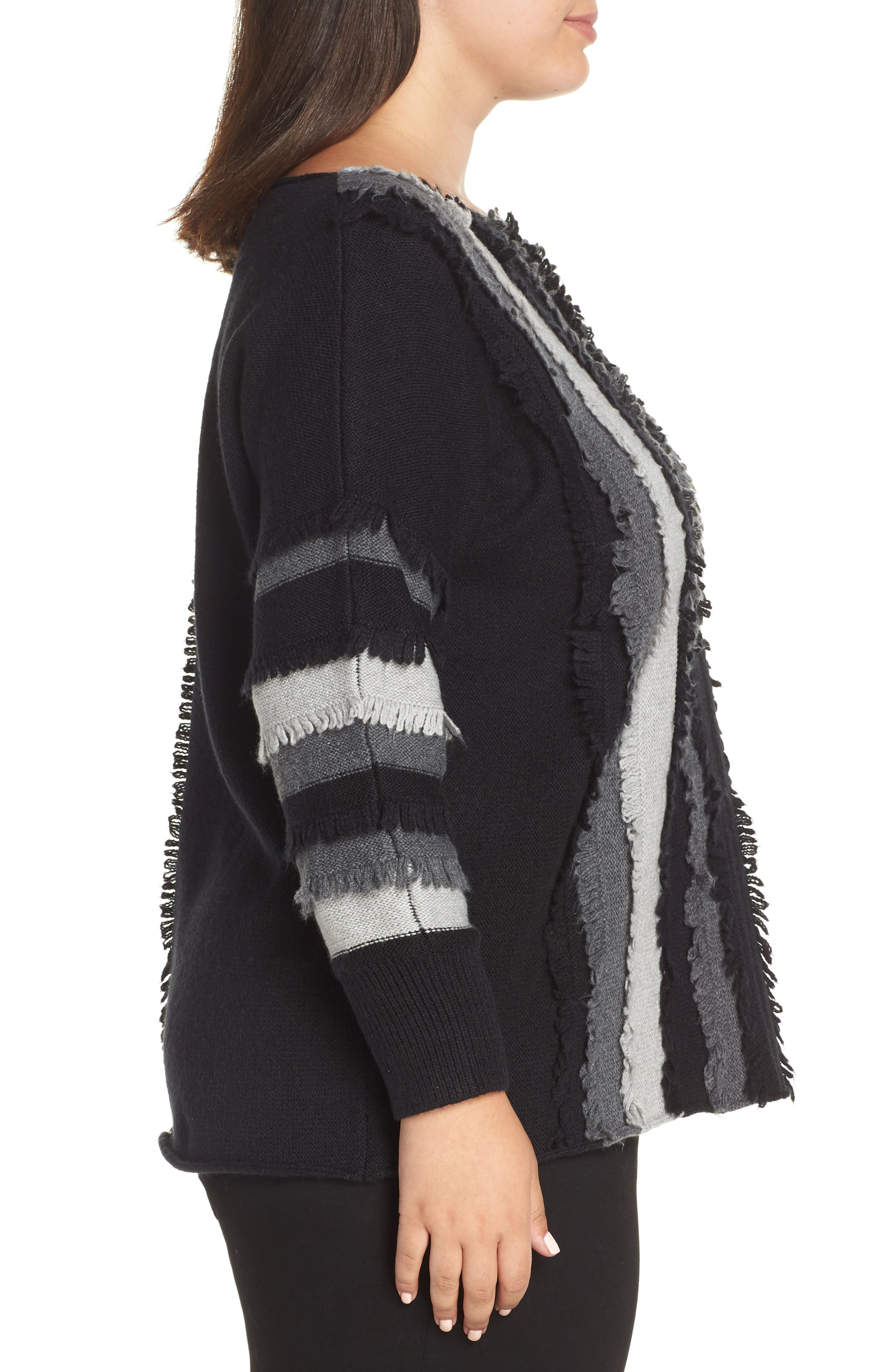 Colorblock Loop Stitch Sweater,                             Alternate thumbnail 3, color,                             RICH BLACK
