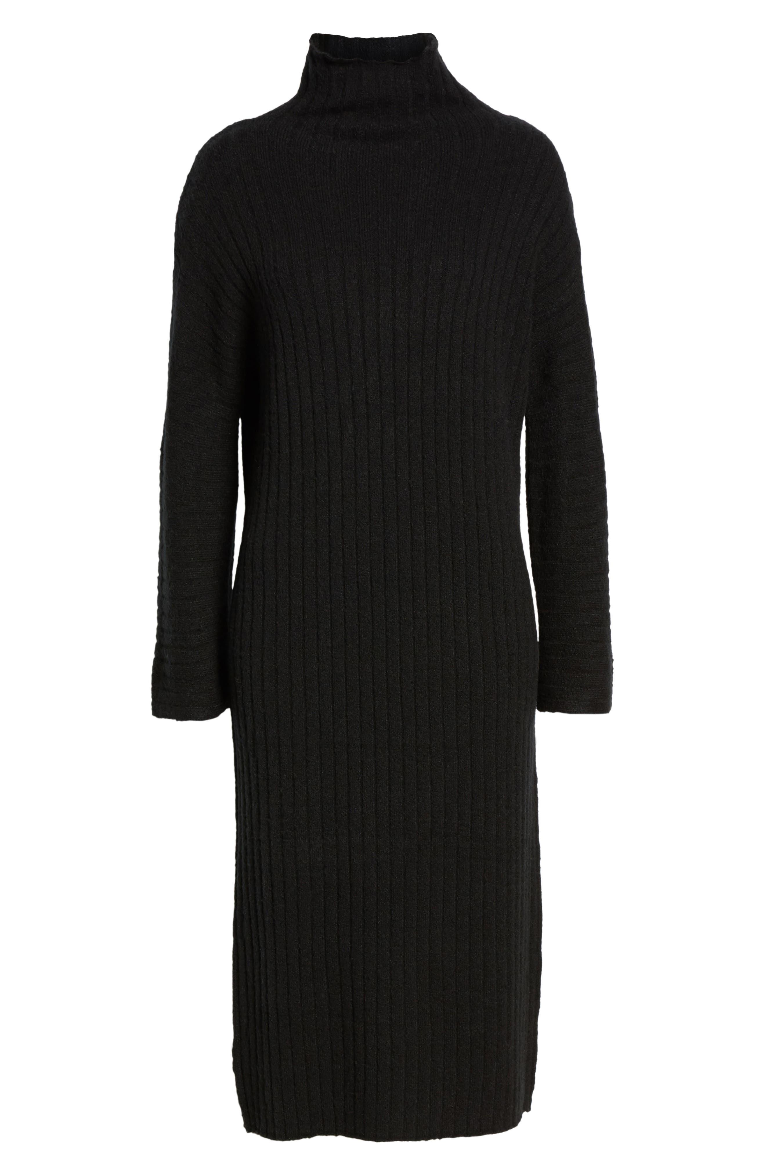 Rib Midi Sweater Dress,                             Alternate thumbnail 7, color,                             BLACK