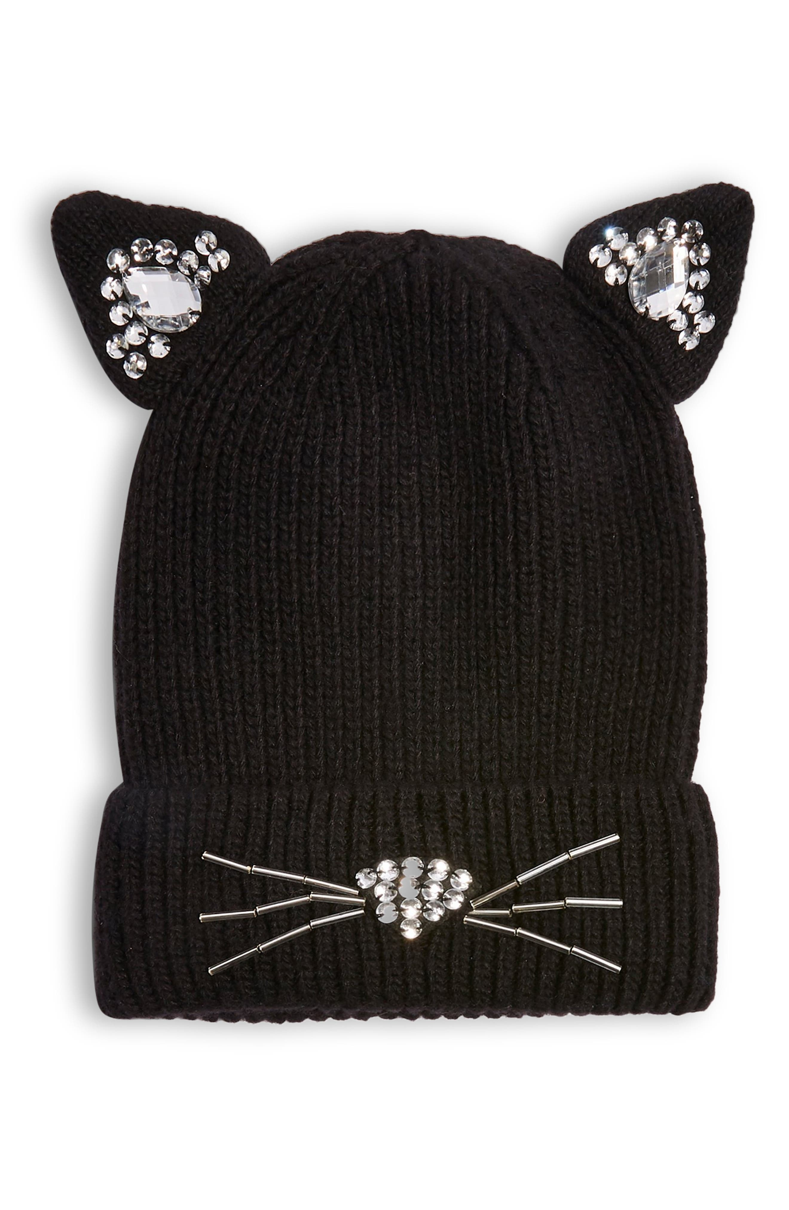 Cat Embellished Beanie,                             Main thumbnail 1, color,                             BLACK