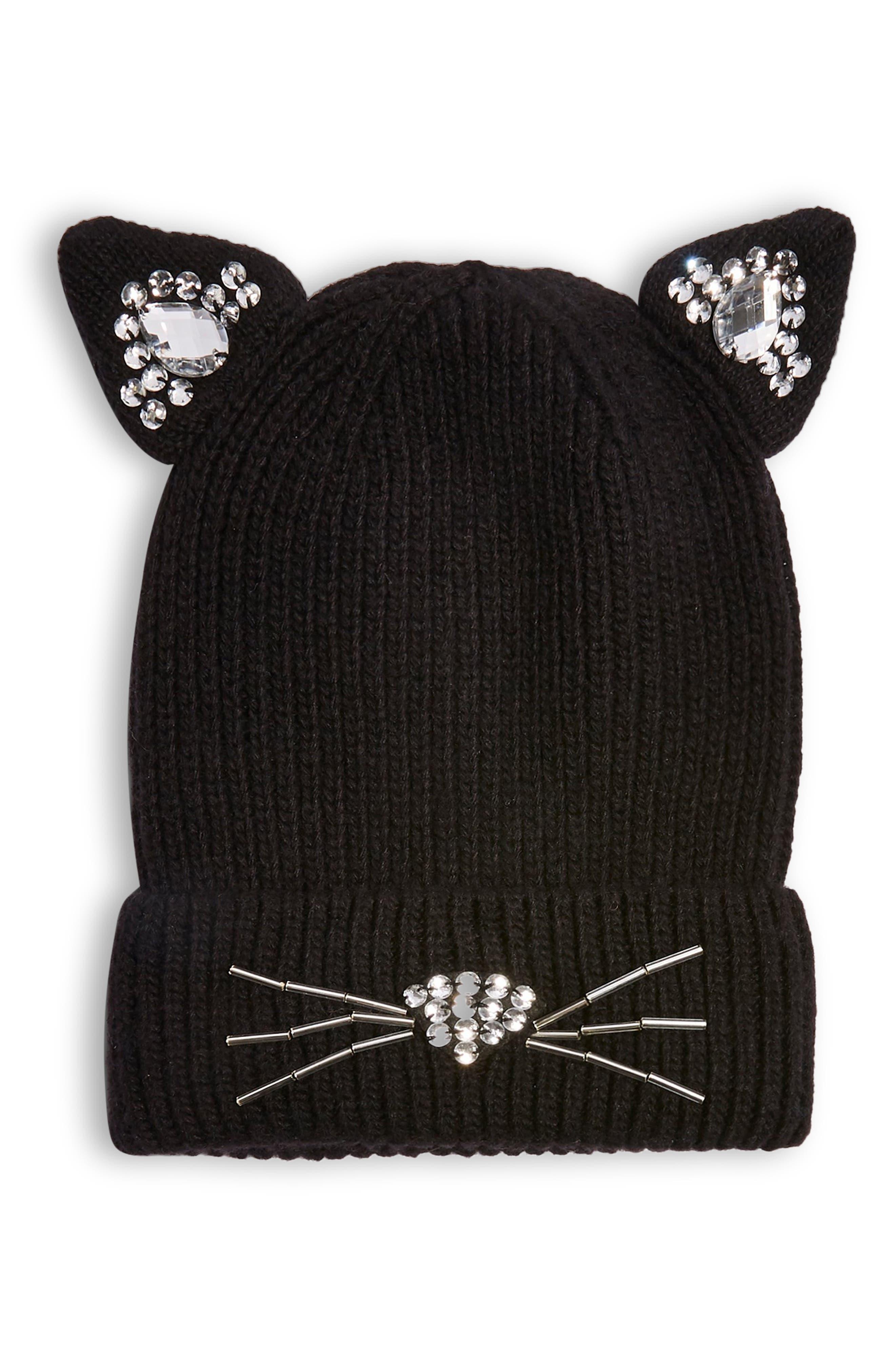 Cat Embellished Beanie,                         Main,                         color, BLACK
