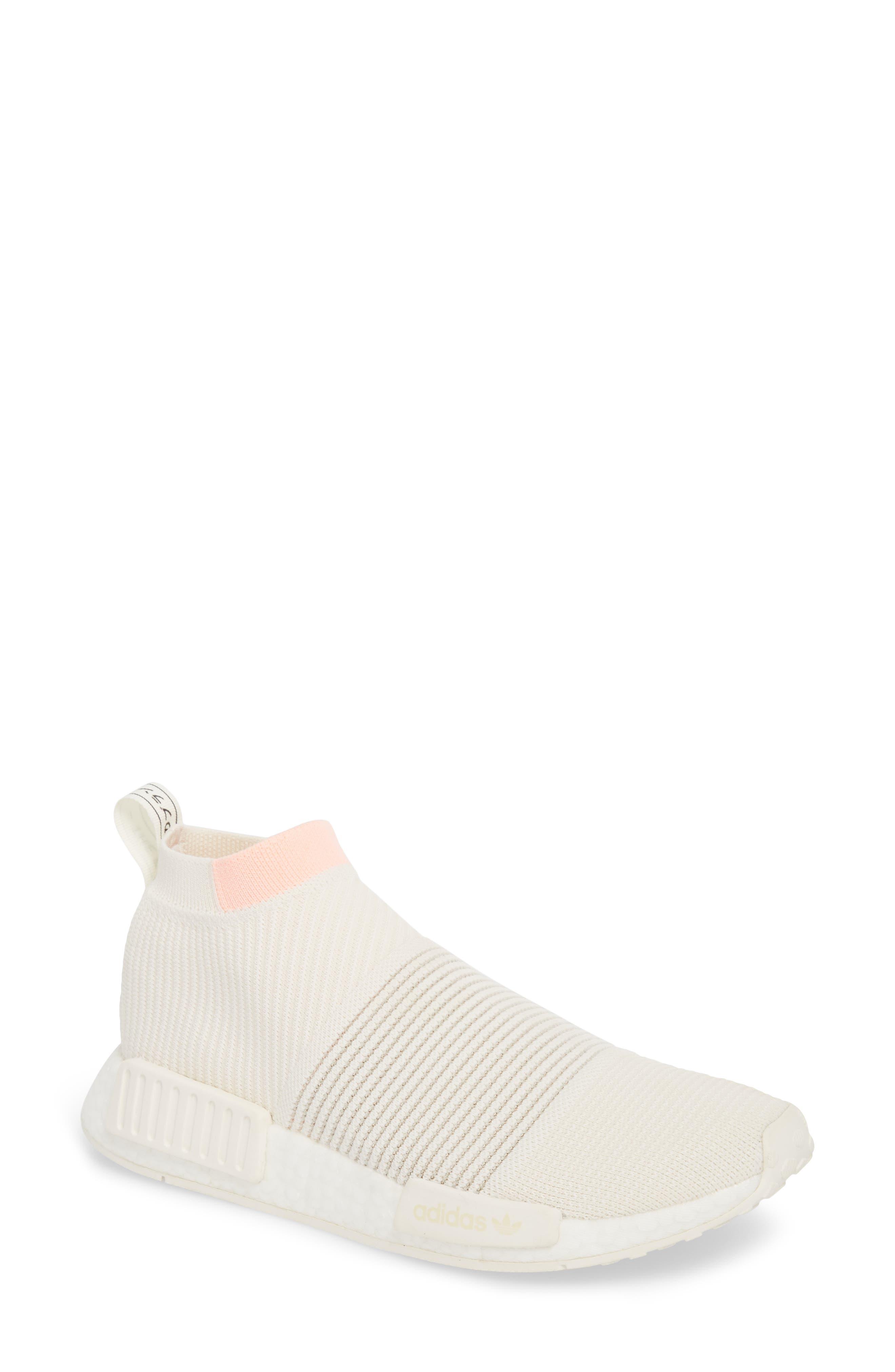 NMD_CS1 Primeknit Sneaker,                             Main thumbnail 1, color,                             CLOUD WHITE/ CLEAR ORANGE