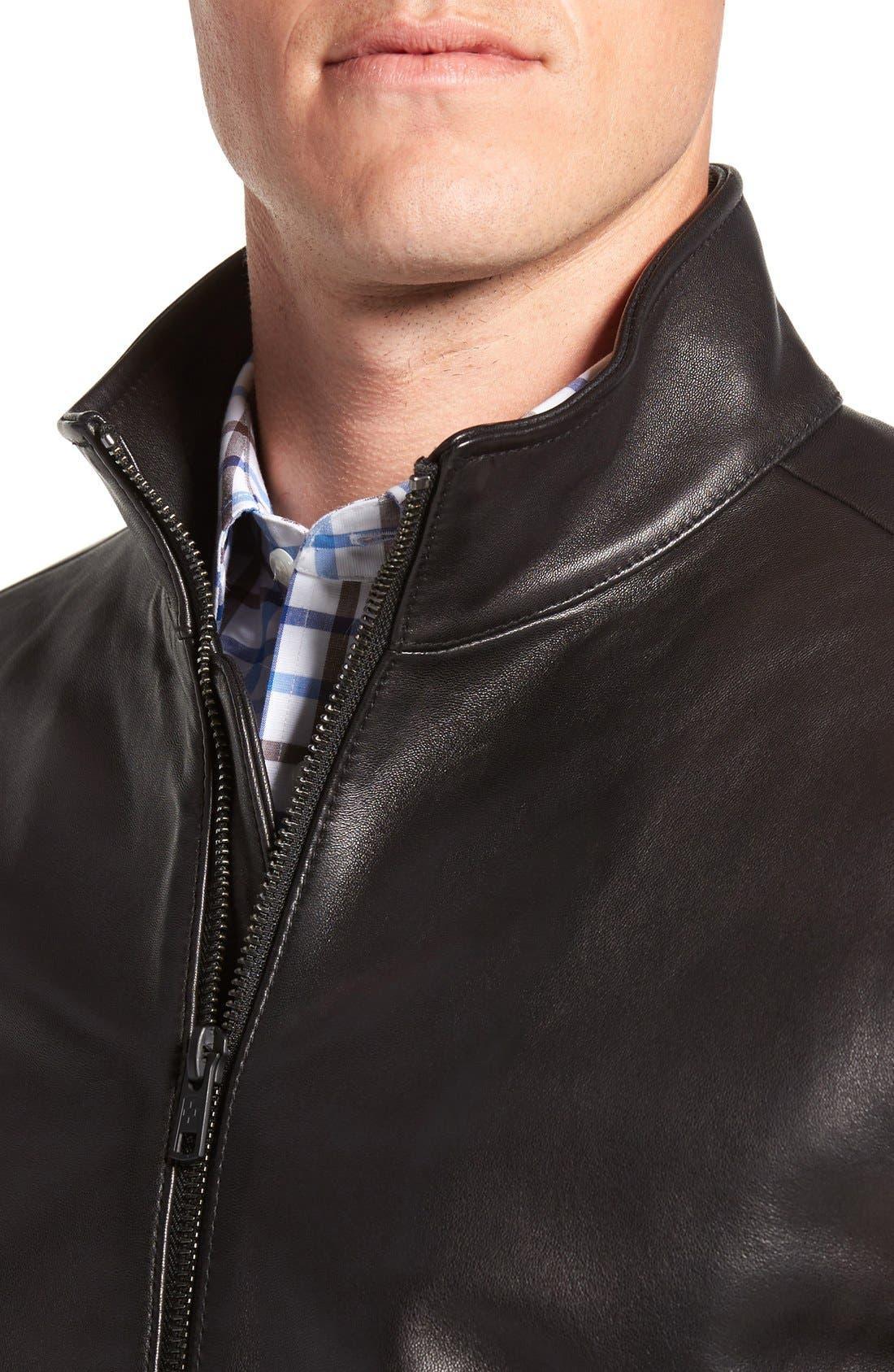 Leather Moto Jacket,                             Alternate thumbnail 2, color,                             001