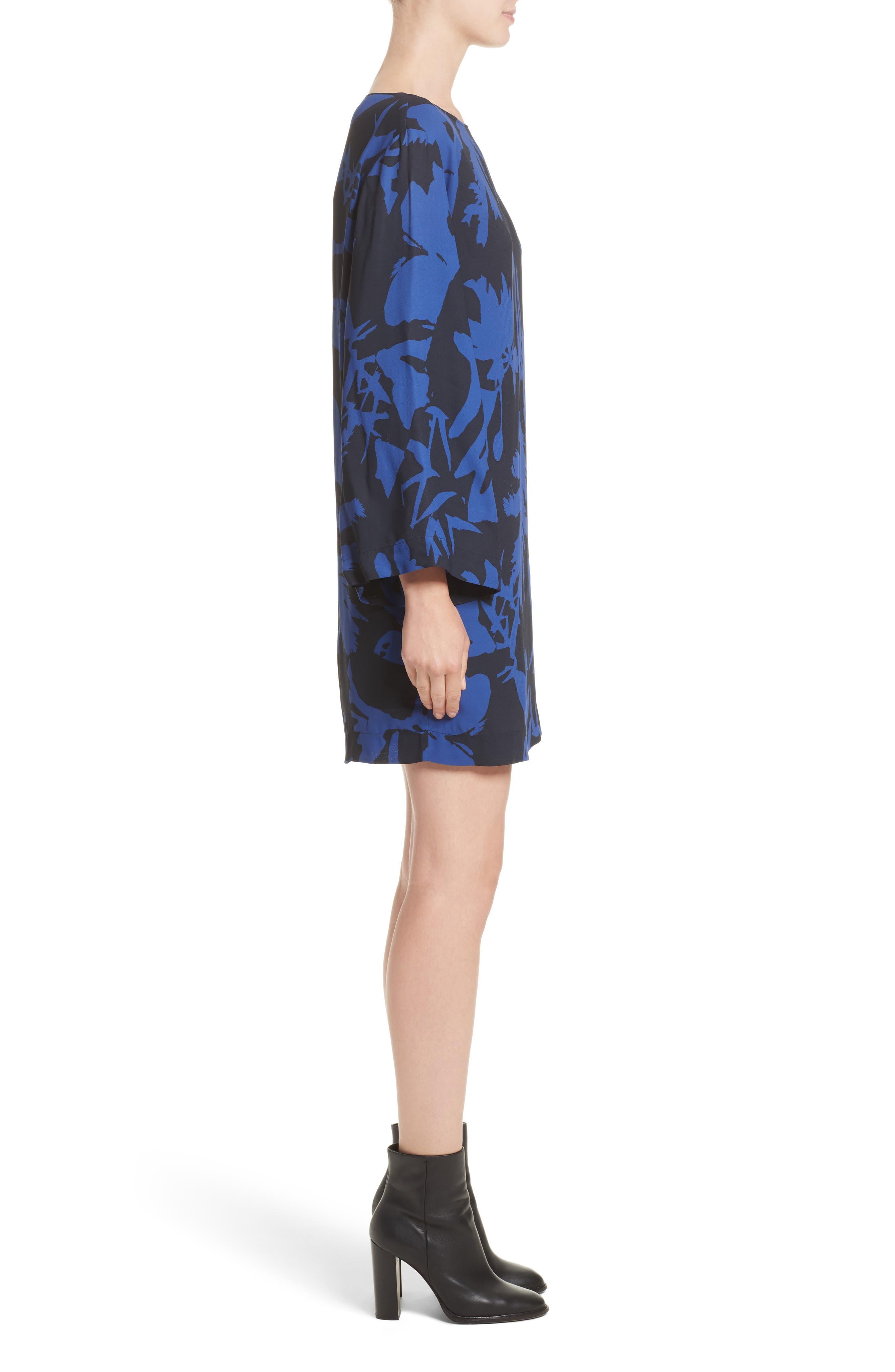 Floral Crepe Bell Sleeve Dress,                             Alternate thumbnail 3, color,                             410