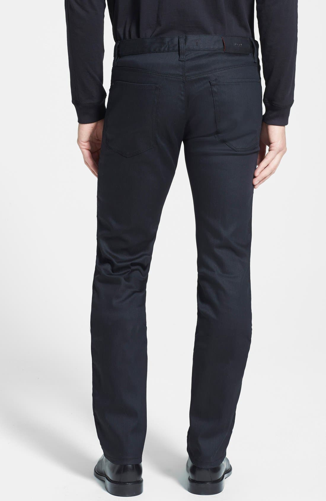 HUGO '708' Slim Fit Jeans,                             Alternate thumbnail 6, color,                             001