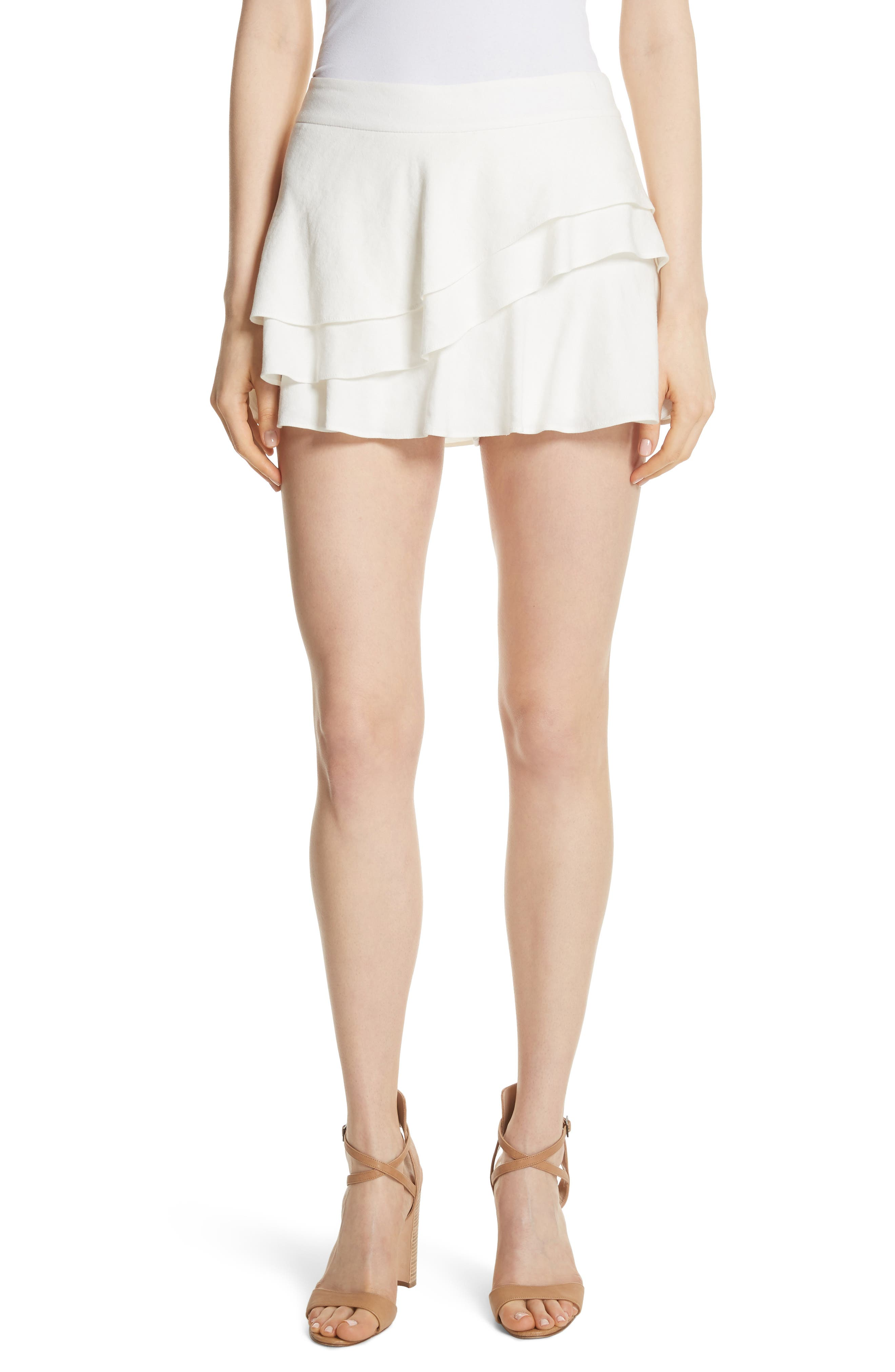 ALICE + OLIVIA Mariella Tiered Ruffle Skort, Main, color, 127