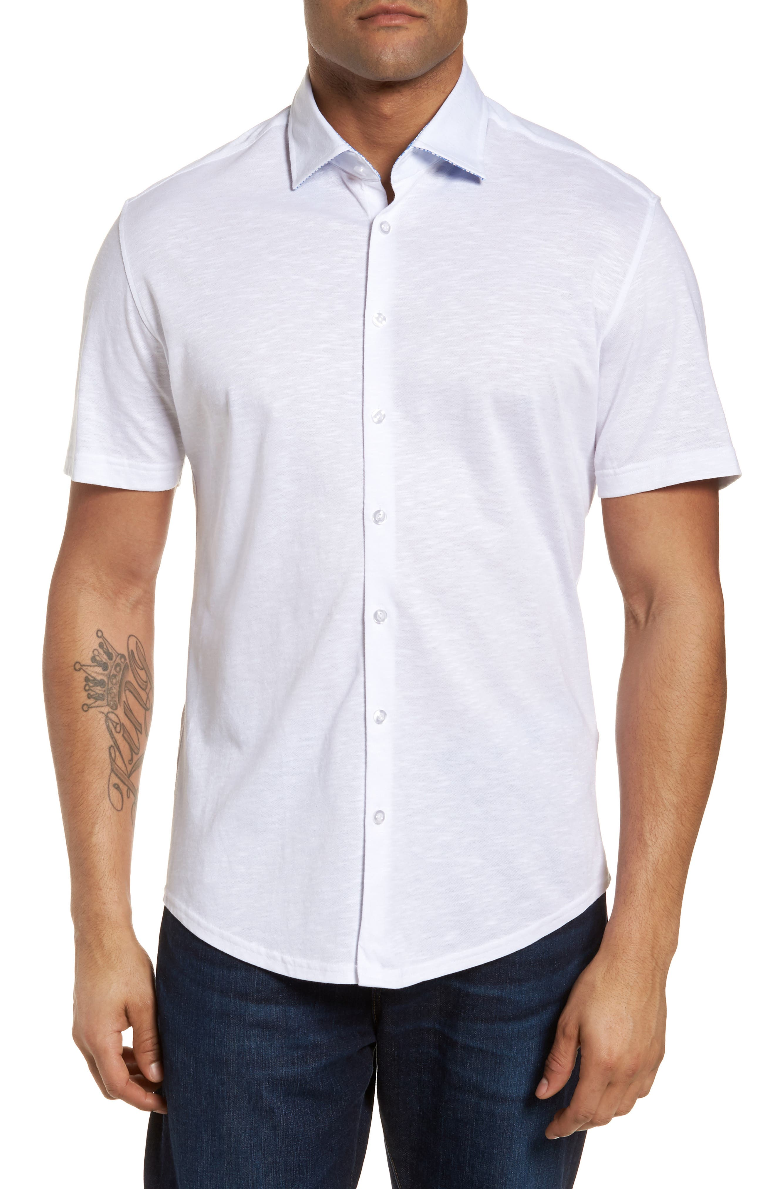 Slim Fit Flame Knit Sport Shirt,                         Main,                         color, WHITE