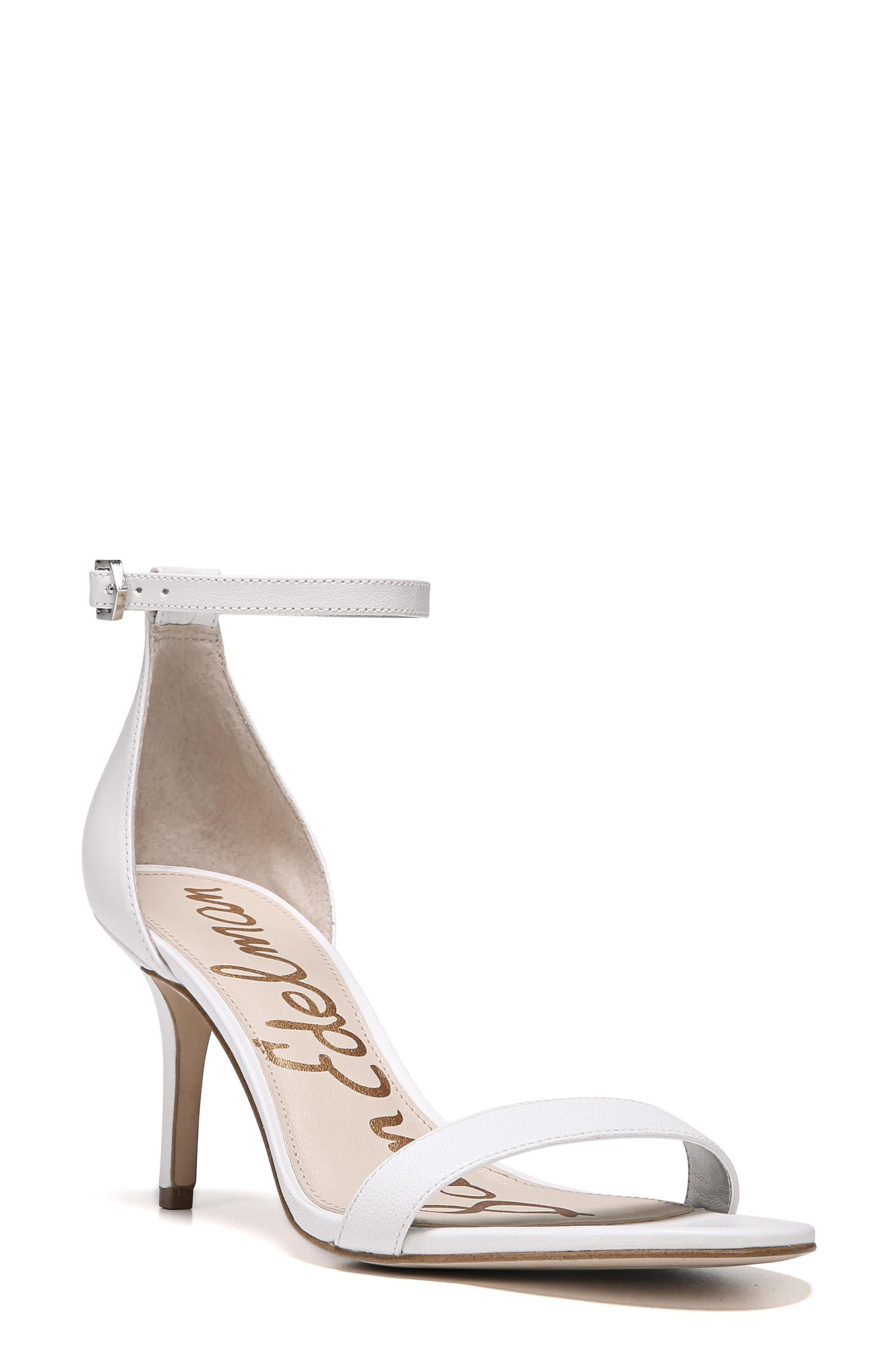 'Patti' Ankle Strap Sandal,                             Main thumbnail 1, color,                             BRIGHT WHITE LEATHER