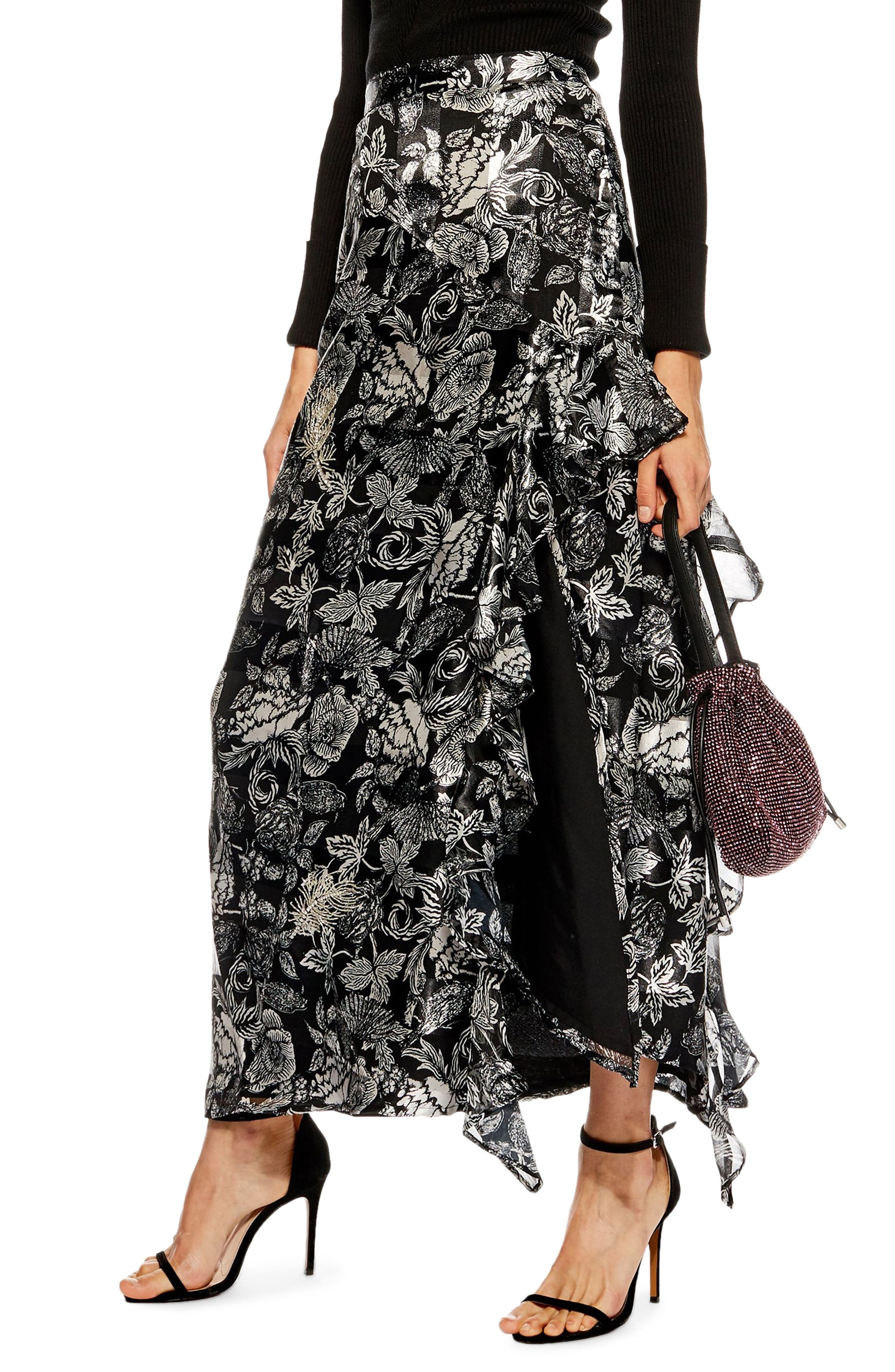 Topshop Feather Embellished Floral Maxi Skirt, US (fits like 0-2) - Metallic